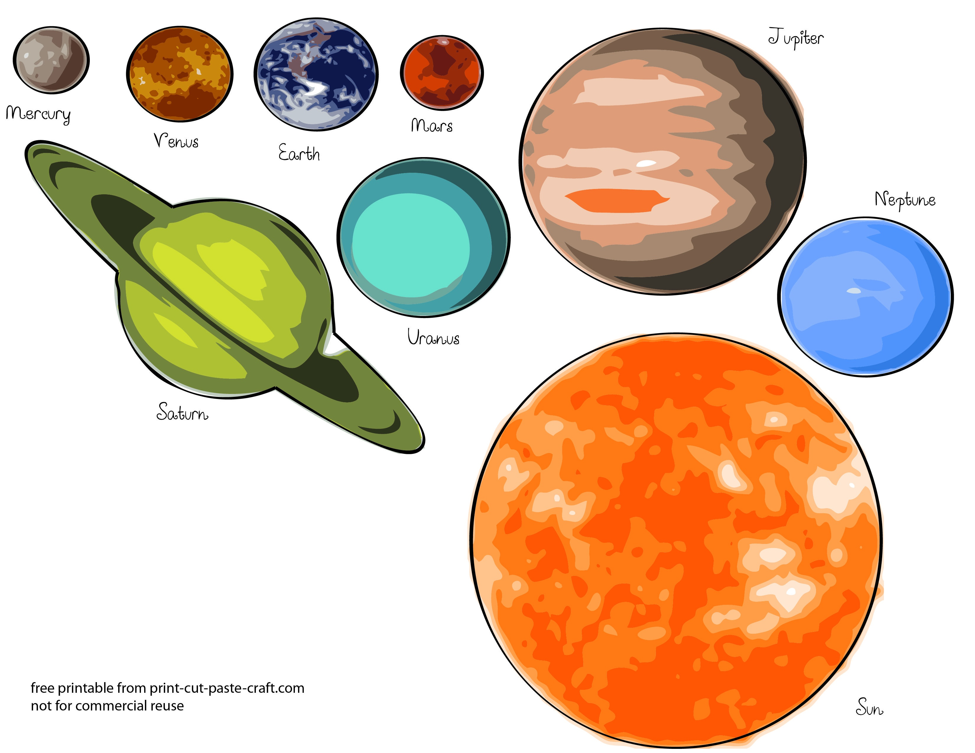 Free Printables Planets | Free Printable Solar System Model For Kids - Free Printable Solar System Flashcards