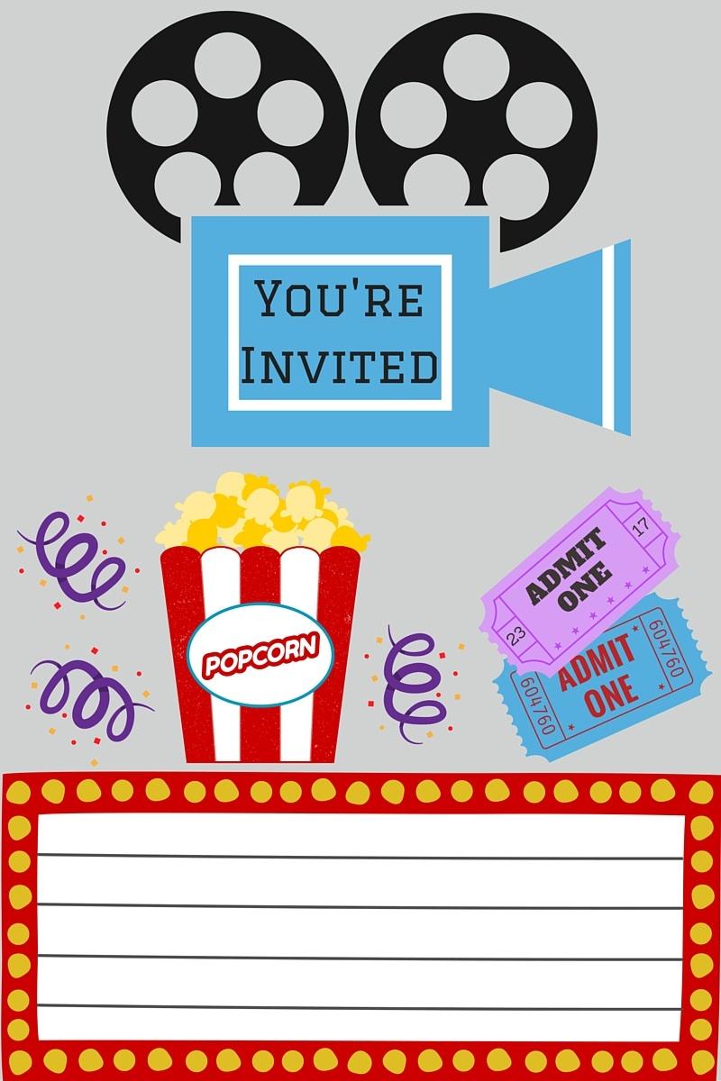 Free Printables | Printable Movie Night Invite - Free Printable Movie Themed Invitations