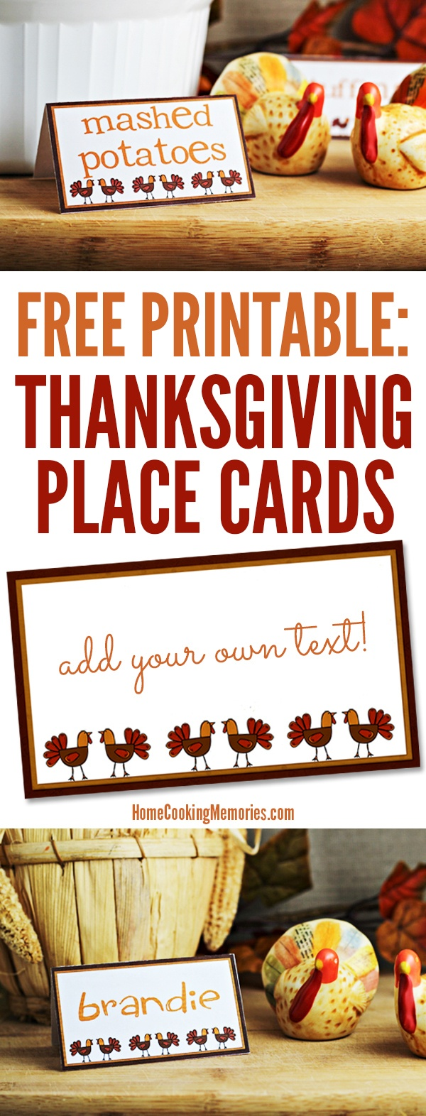Free Printables: Thanksgiving Place Cards - Home Cooking Memories - Free Printable Personalized Thanksgiving Place Cards