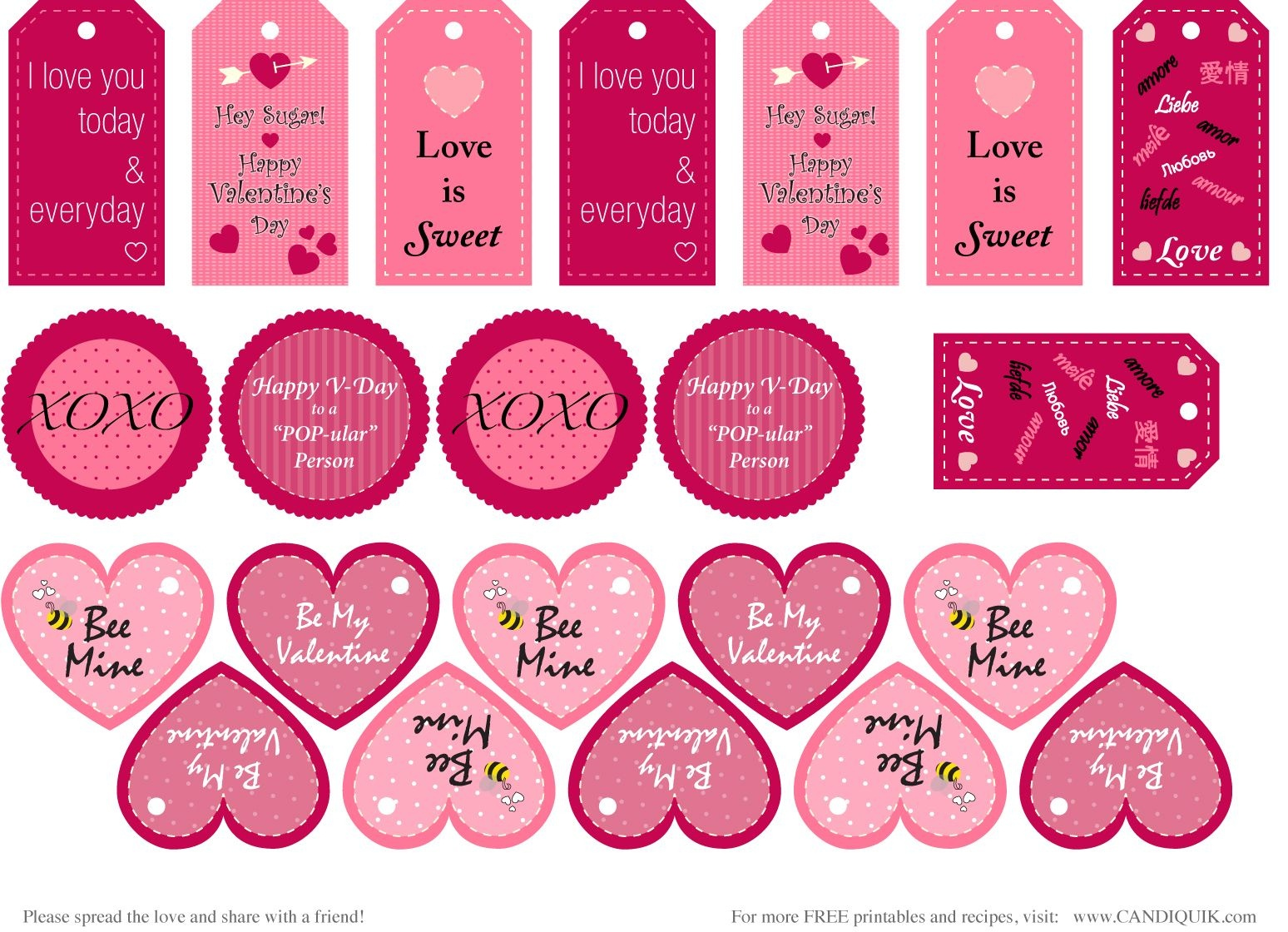 Free} Printables   Valentines   Valentine's Day Printables - Free Printable Valentines Day Tags