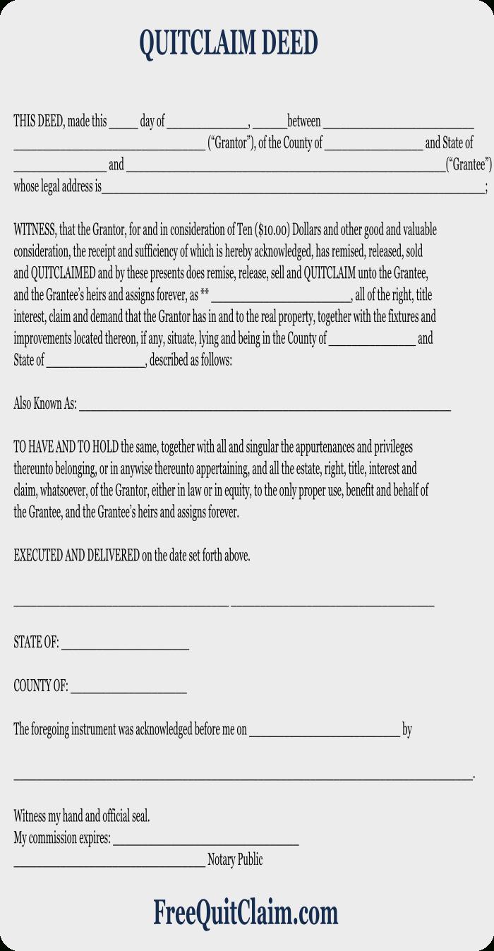 Free Quit Claim Deed - Free Quit Claim Deed Form - Free Printable Quit Claim Deed Washington State Form
