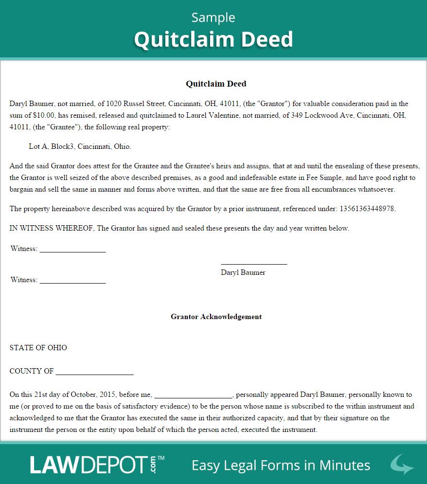 Free Printable Quit Claim Deed Washington State Form