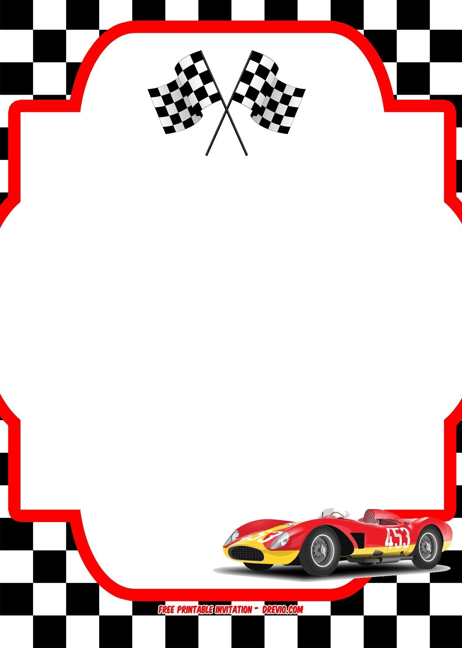Free Race Car Birthday Invitation Template - Printable   Kids Party - Free Printable Birthday Invitations Cars Theme