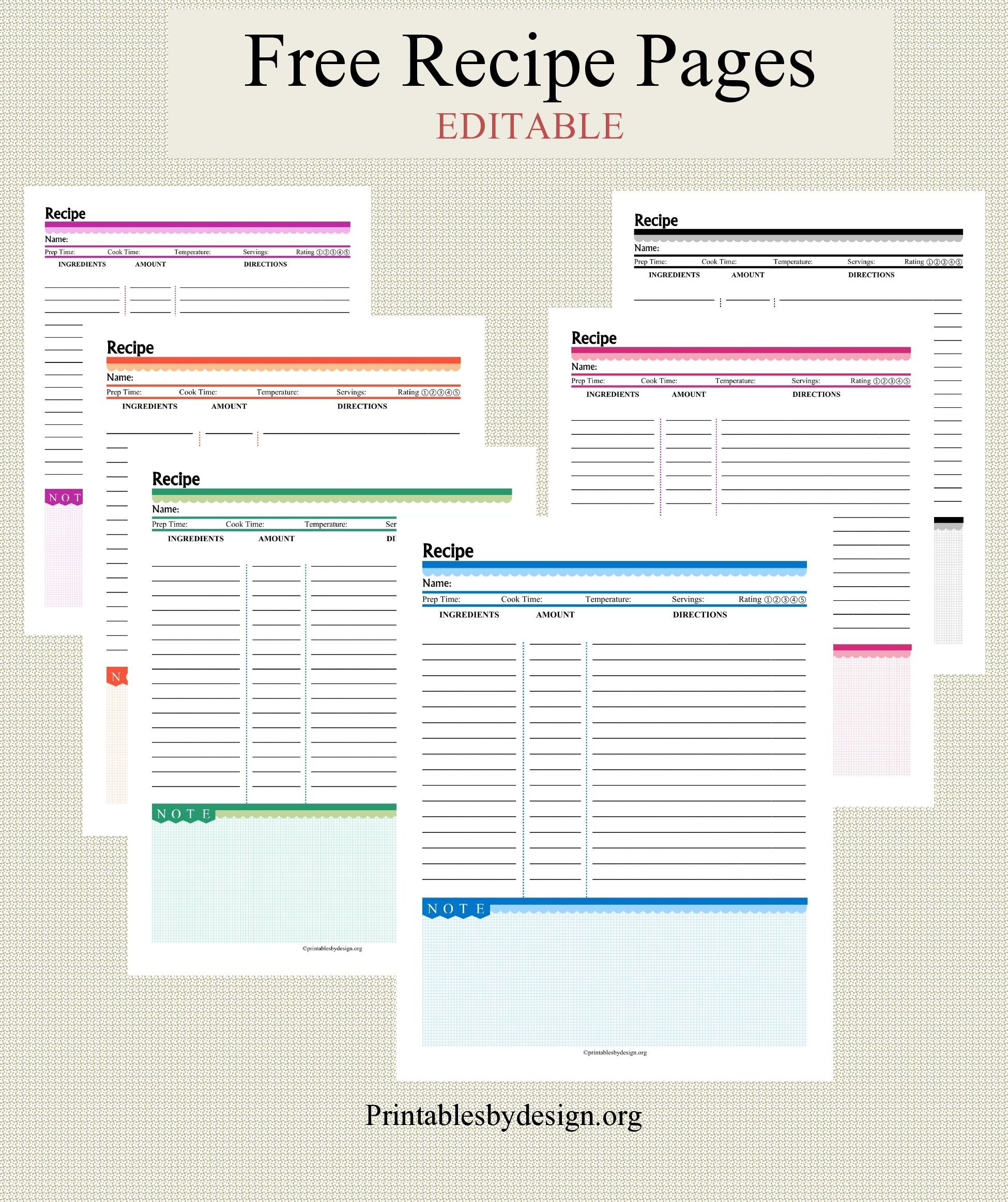 Free Recipe Pages In 6 Colors To Choose From. Editable. | Handmade - Free Printable Recipe Pages