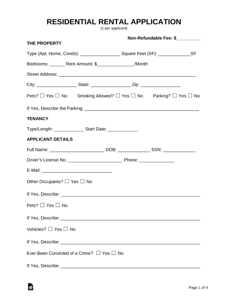 Free Rental Application Form - Pdf   Word   Eforms – Free Fillable Forms - Free Printable House Rental Forms
