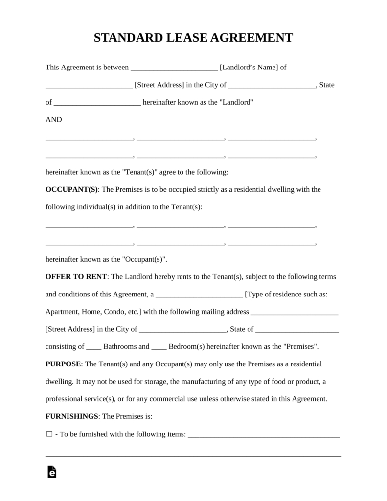 Free Rental Lease Agreement Templates - Residential & Commercial - Free Printable Rental Lease Agreement