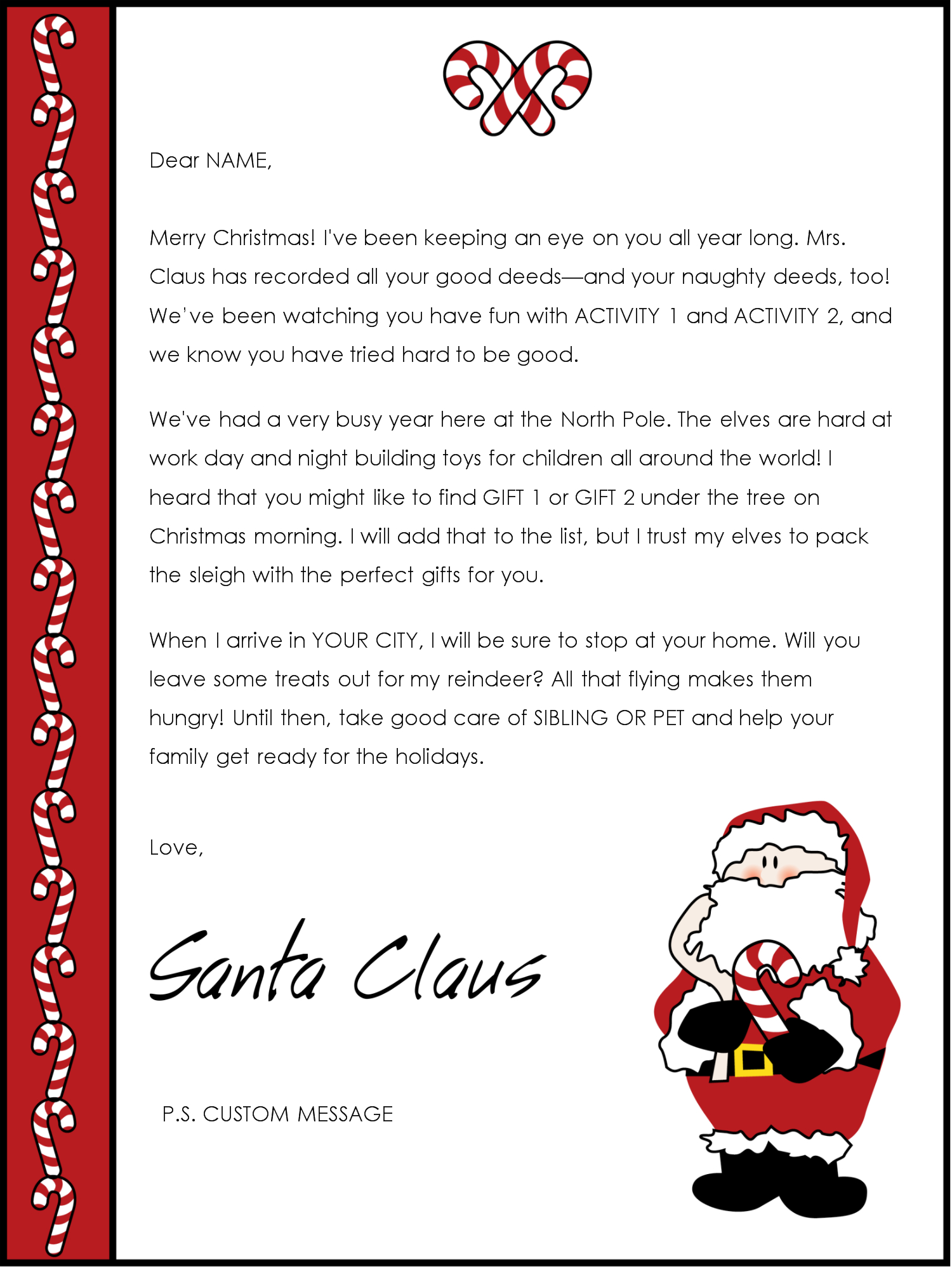 Free Santa Letter Templates Downloads | Christmas Letter From Santa - Free Printable Christmas Morning Letters From Santa