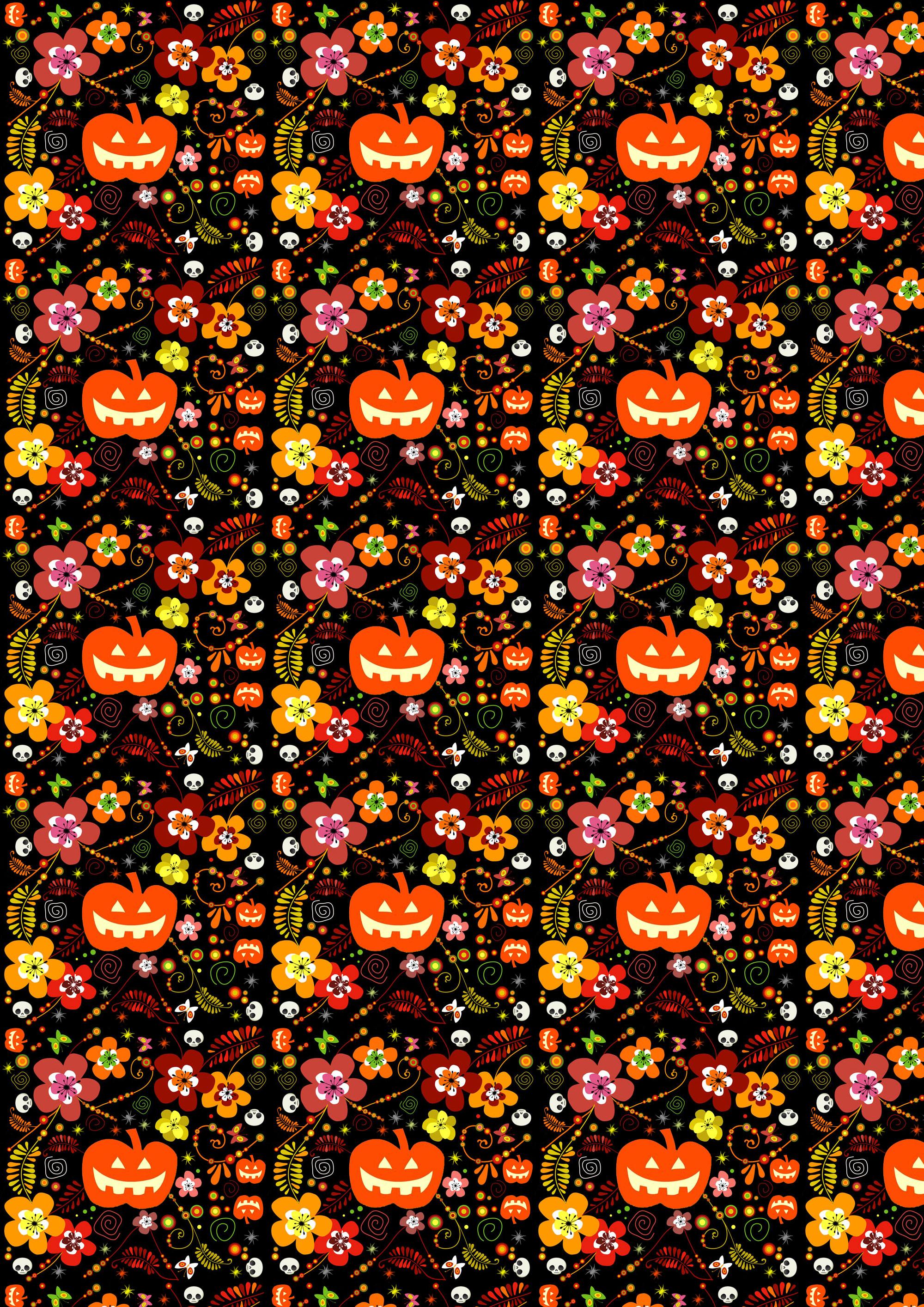 Free Scrapbook Paper: Halloween Pumpkins And Flowers   Rooftop Post - Free Printable Fall Scrapbook Paper