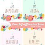 Free Self Affirmation Printables: Print Some Positivity   | Free   Free Printable Positive Affirmation Cards