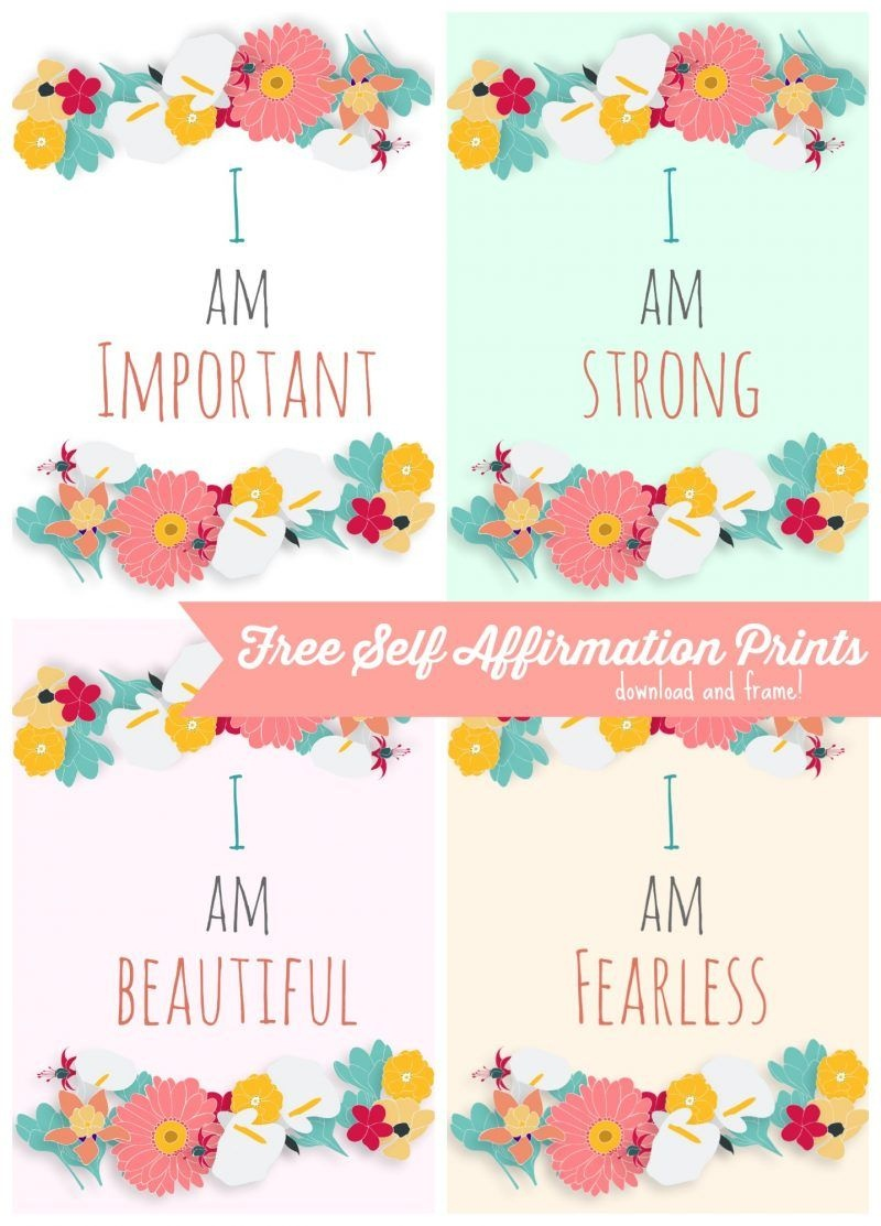 Free Self Affirmation Printables: Print Some Positivity - | Free - Free Printable Positive Affirmation Cards