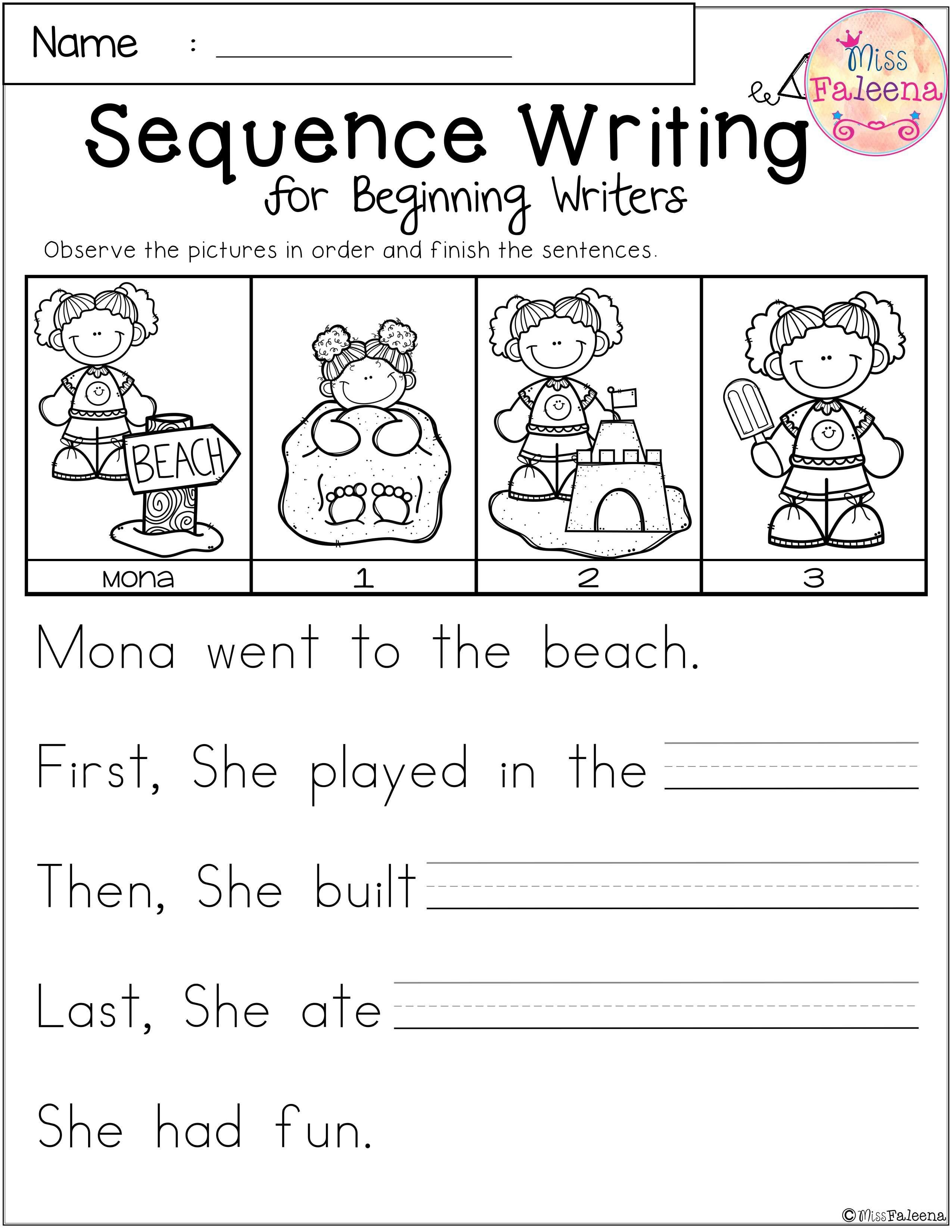 Free Sequence Writing For Beginning Writers | Dear Teachers - Free Printable Sequencing Worksheets For Kindergarten