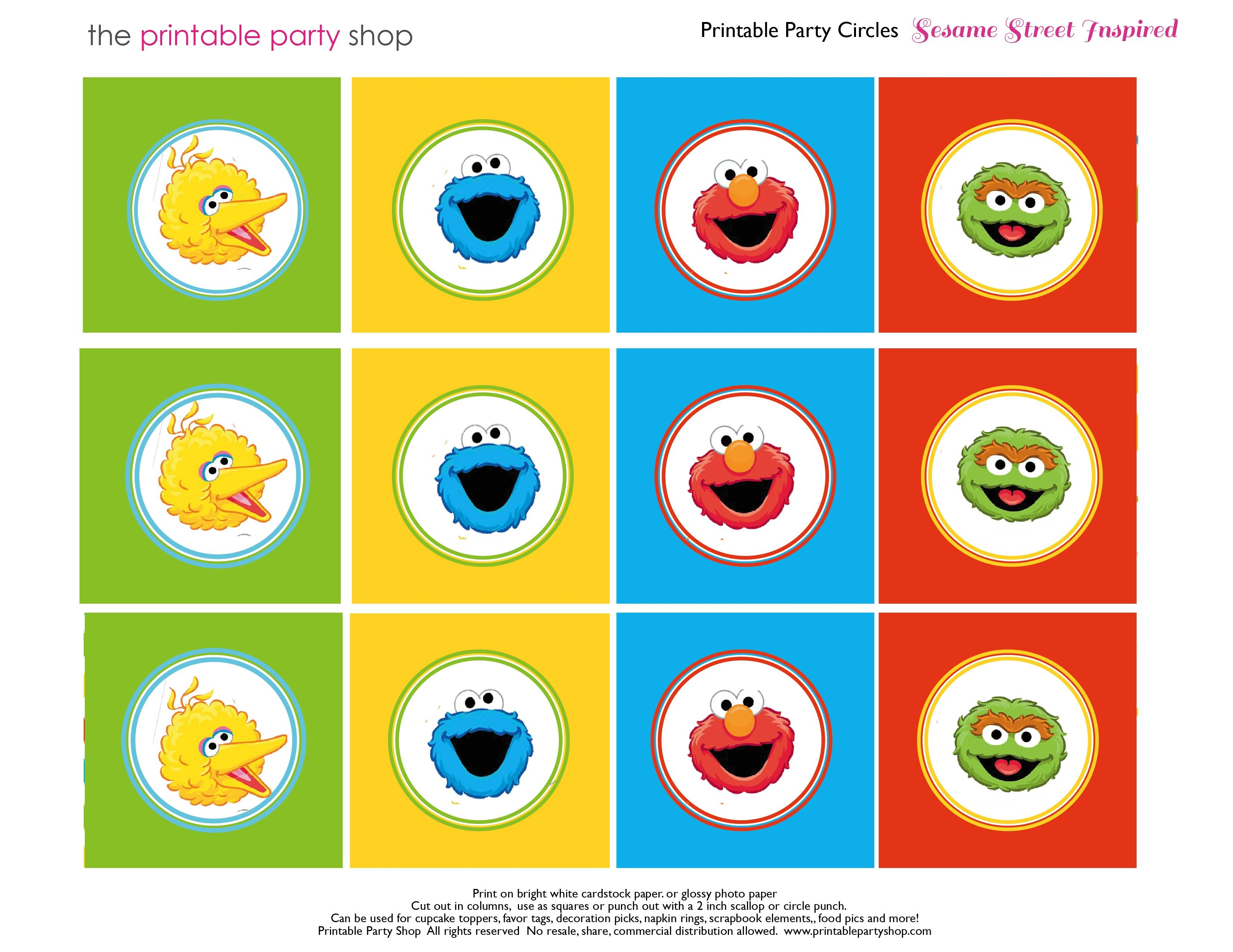 Free Sesame Street Printables | Party-Circles-Characters-Colorblocks - Free Printable Party Circles
