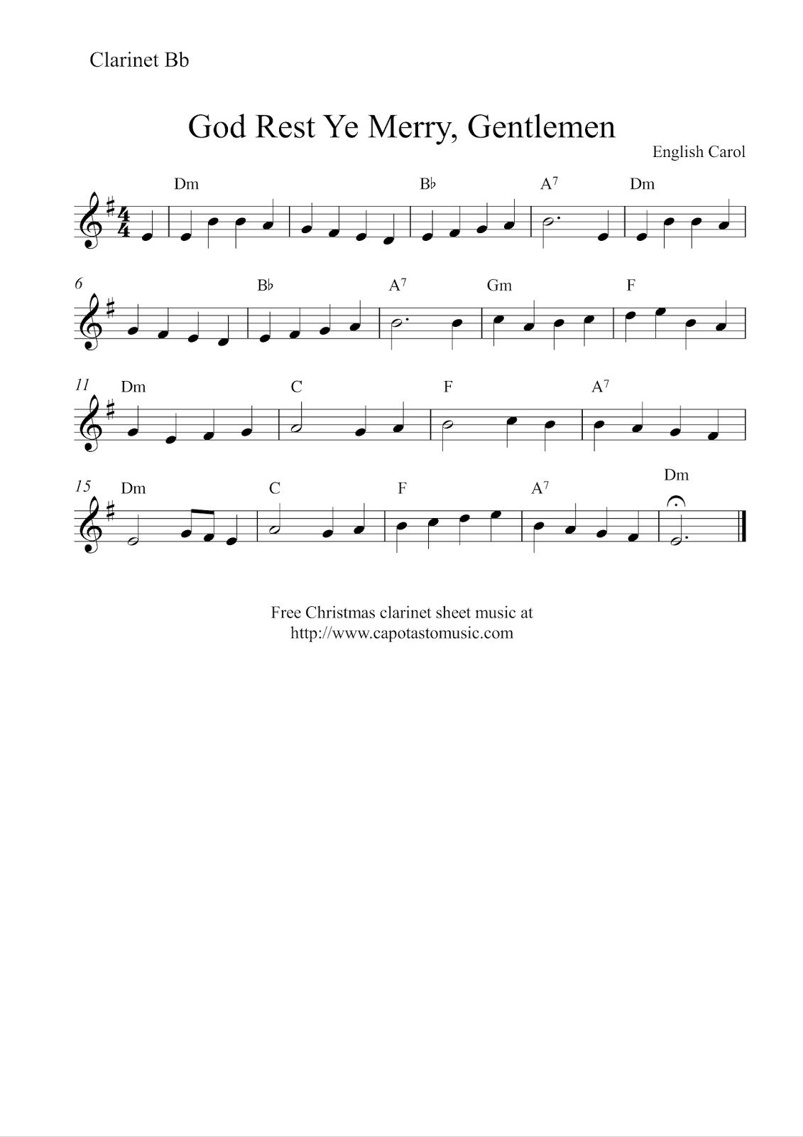 Free Sheet Music Scores: Clarinet Christmas | Christmas Music - Free Printable Christmas Songs For Clarinet