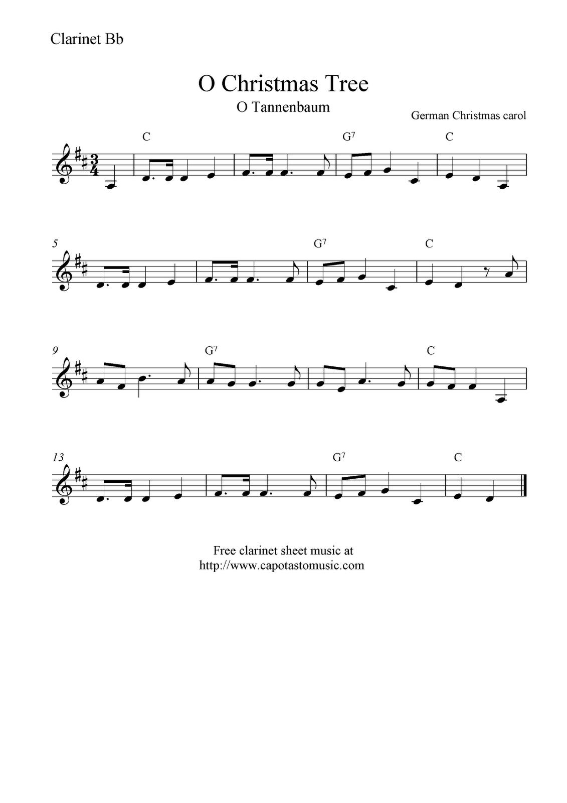 Free Sheet Music Scores: O Christmas Tree (O Tannenbaum), Free - Free Printable Christmas Songs For Clarinet