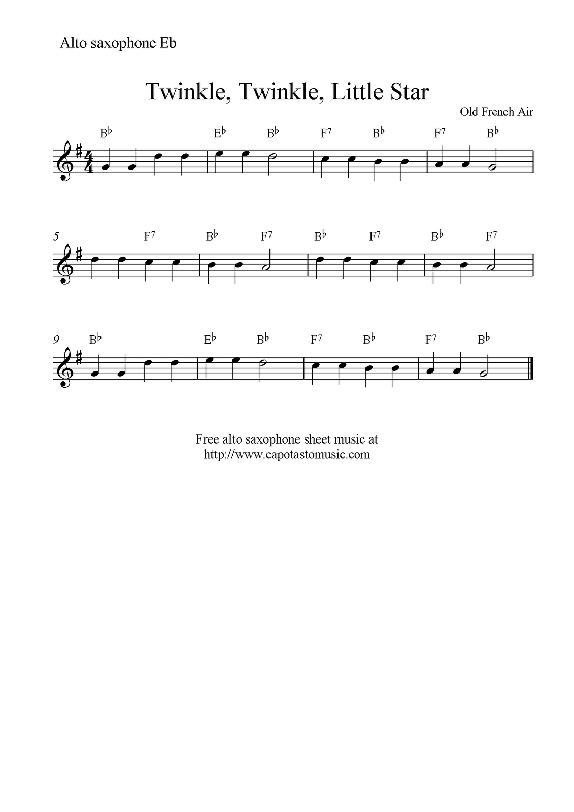 Free Sheet Music Scores: Twinkle, Twinkle, Little Star, Free Alto - Free Printable Alto Saxophone Sheet Music