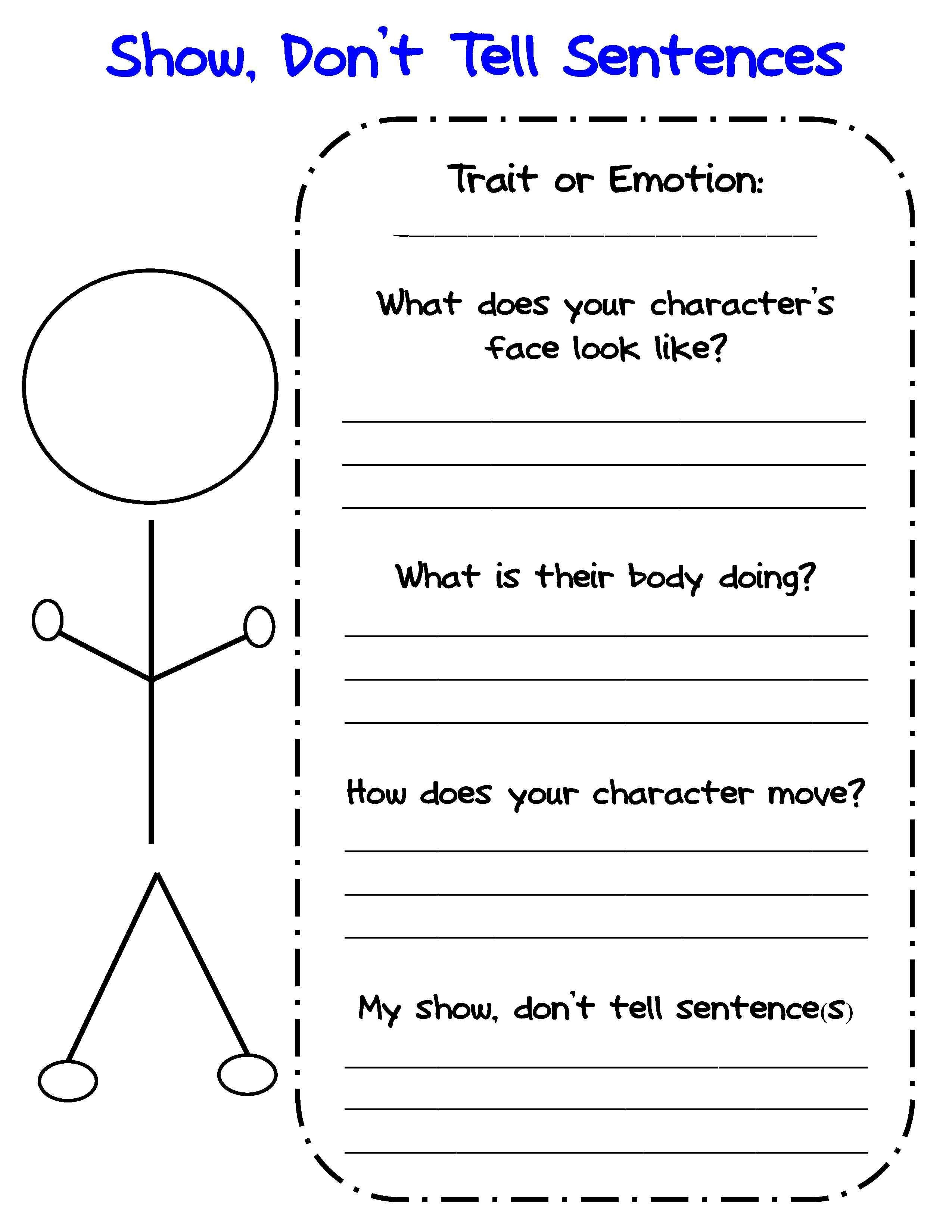 Free Show Don't Tell Graphic Organizer For Writing About Characters - Free Printable Character Traits Graphic Organizer