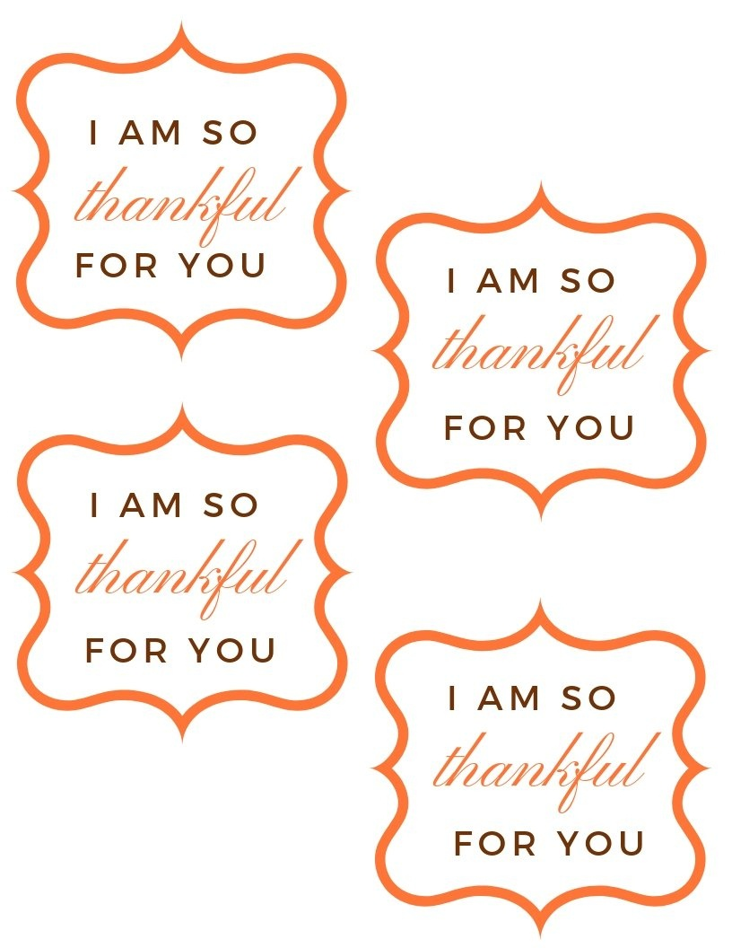 "Free ""so Thankful For You"" Printable Gift Tag For Thanksgiving - Thankful For You Free Printable Tags"