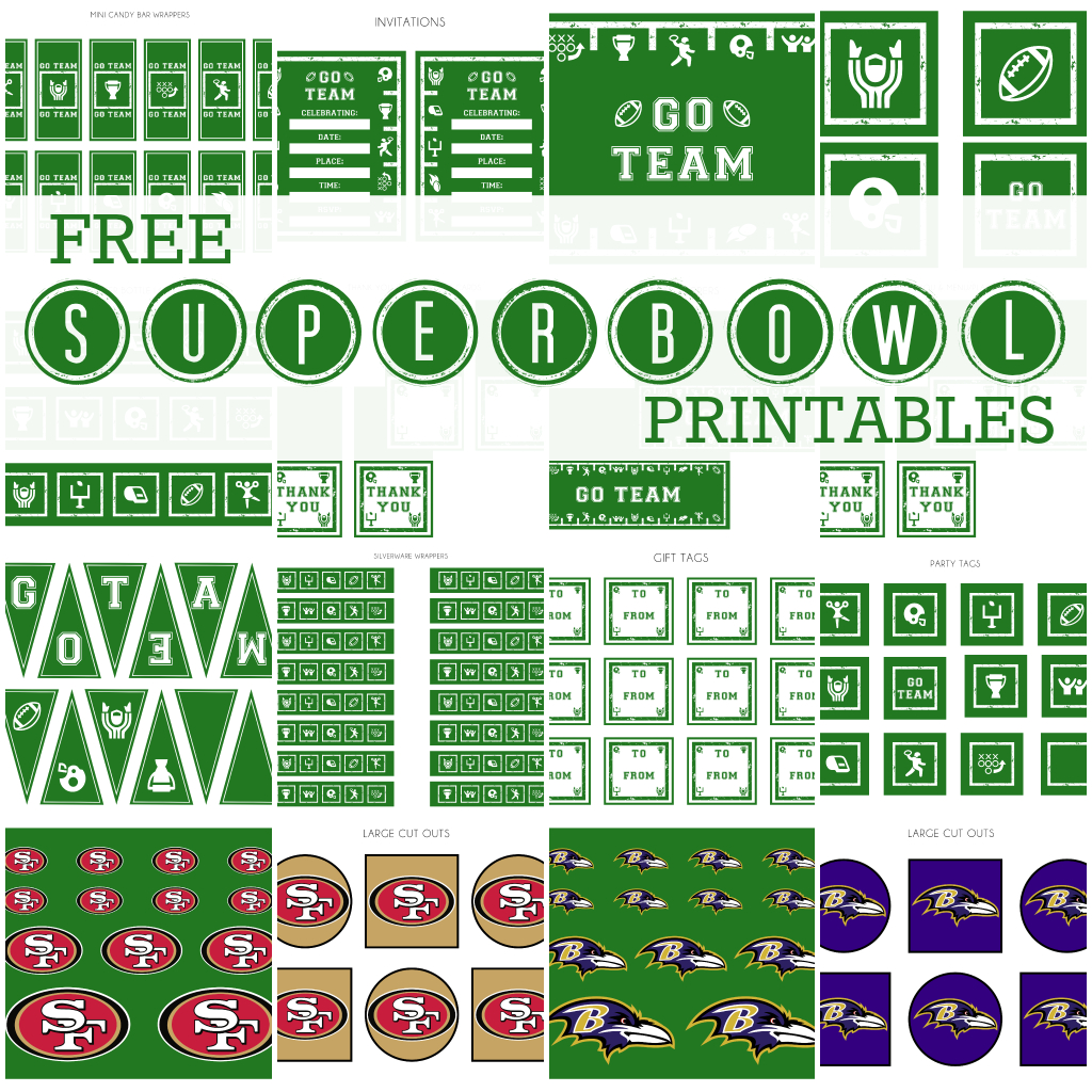 Free Super Bowl Party Party Printables From Printabelle | Catch My Party - Free Football Printables