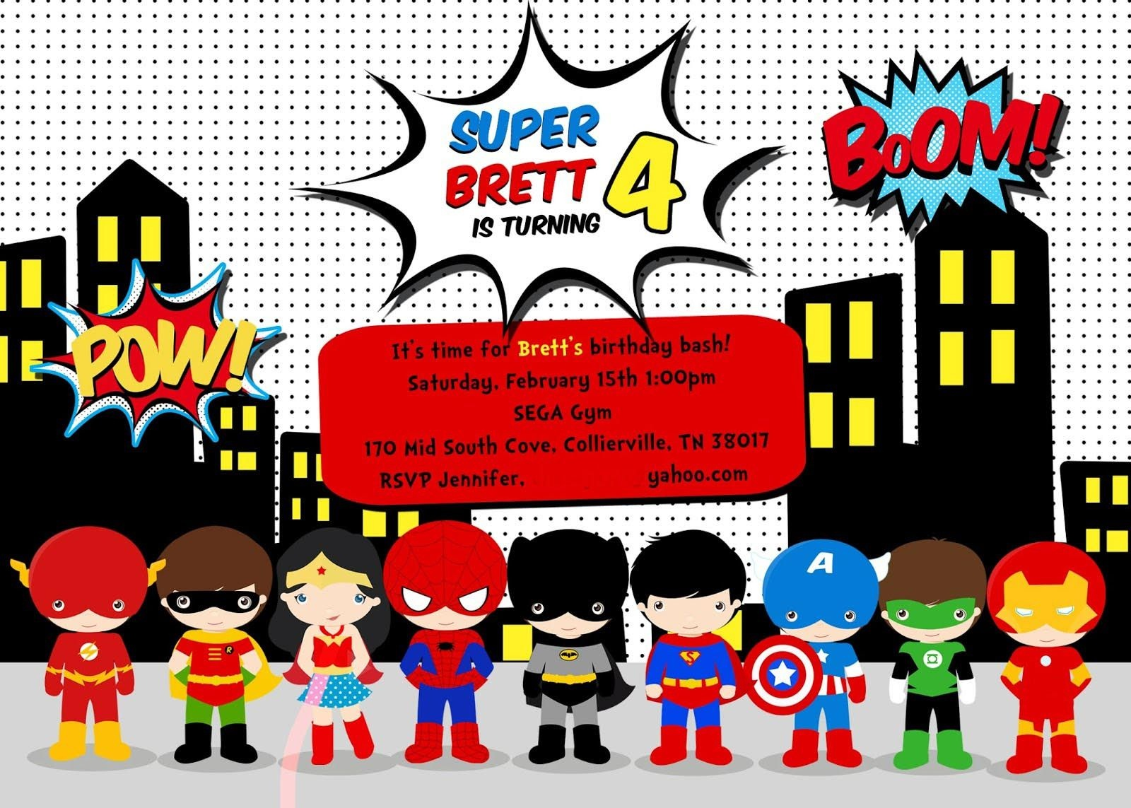 Free Superhero Birthday Party Invitation Templates   Birthday Party - Free Printable Superhero Birthday Invitation Templates