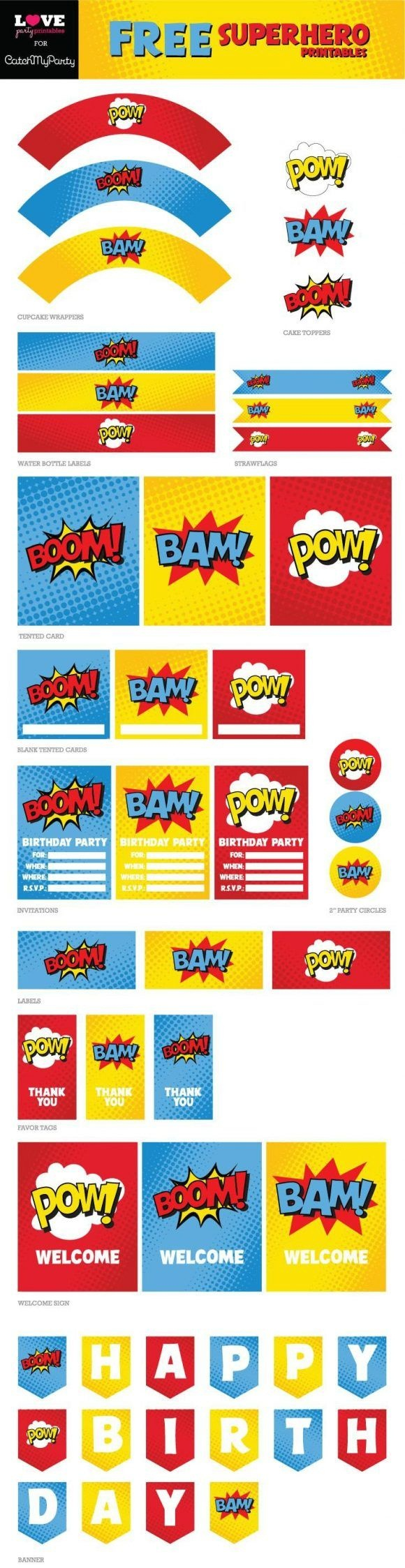 "Free Superhero Party Printables Including ""happy Birthday"" Banner - Free Superhero Party Printables"