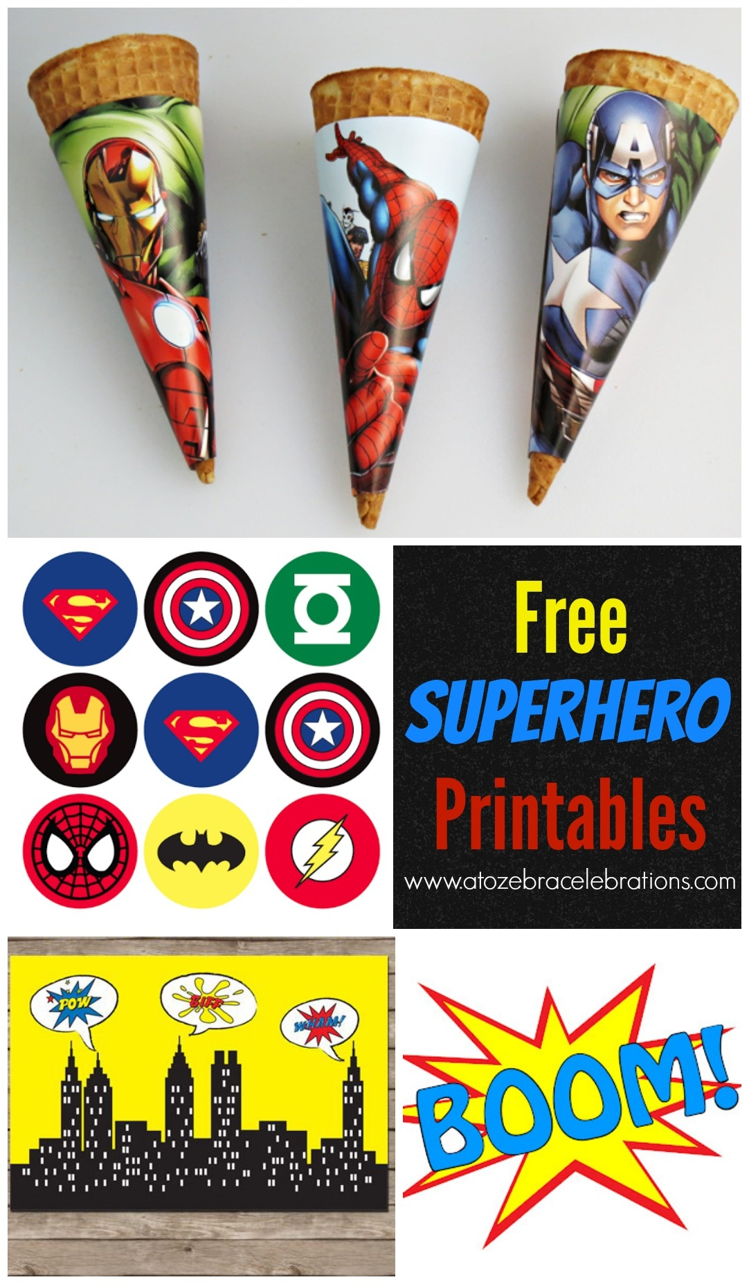 Free Superhero Party Printables – Style With Nancy - Free Superhero Photo Booth Printables