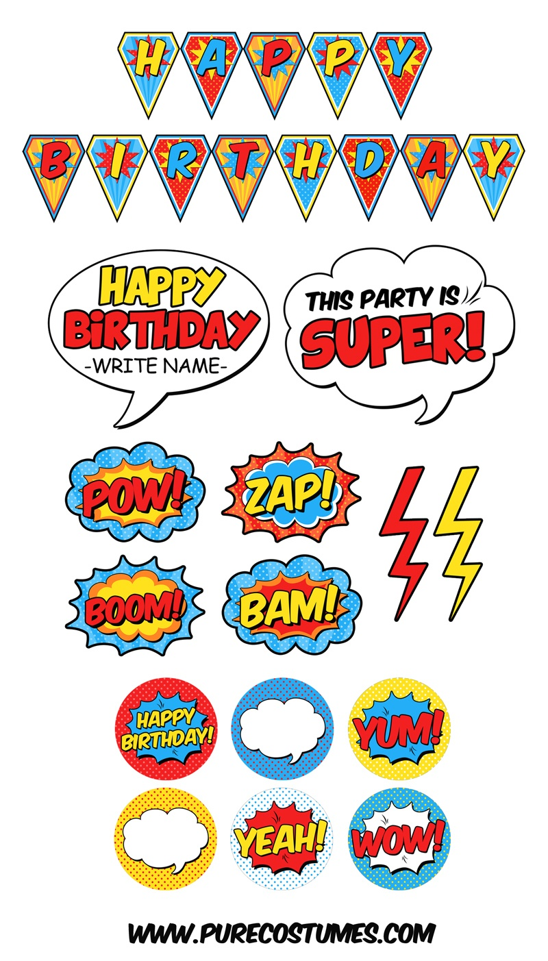 Free Superhero Pary Printables - Free Superhero Photo Booth Printables
