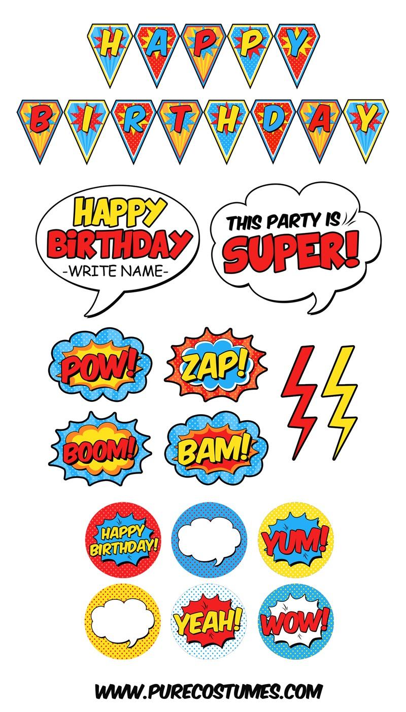 Free Superhero Pary Printables - Free Superhero Printables