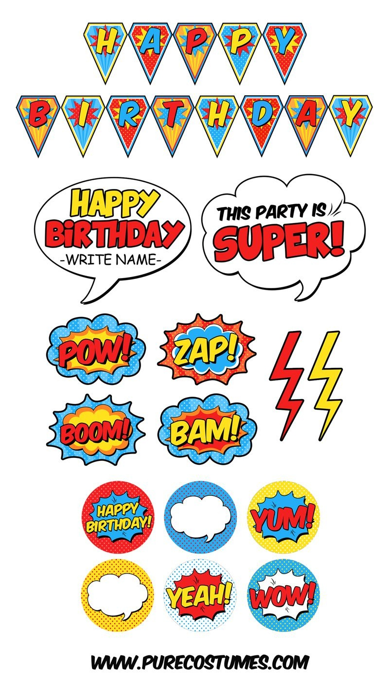 Free Superhero Pary Printables | Superhelden - Superhero Birthday - Free Superhero Party Printables