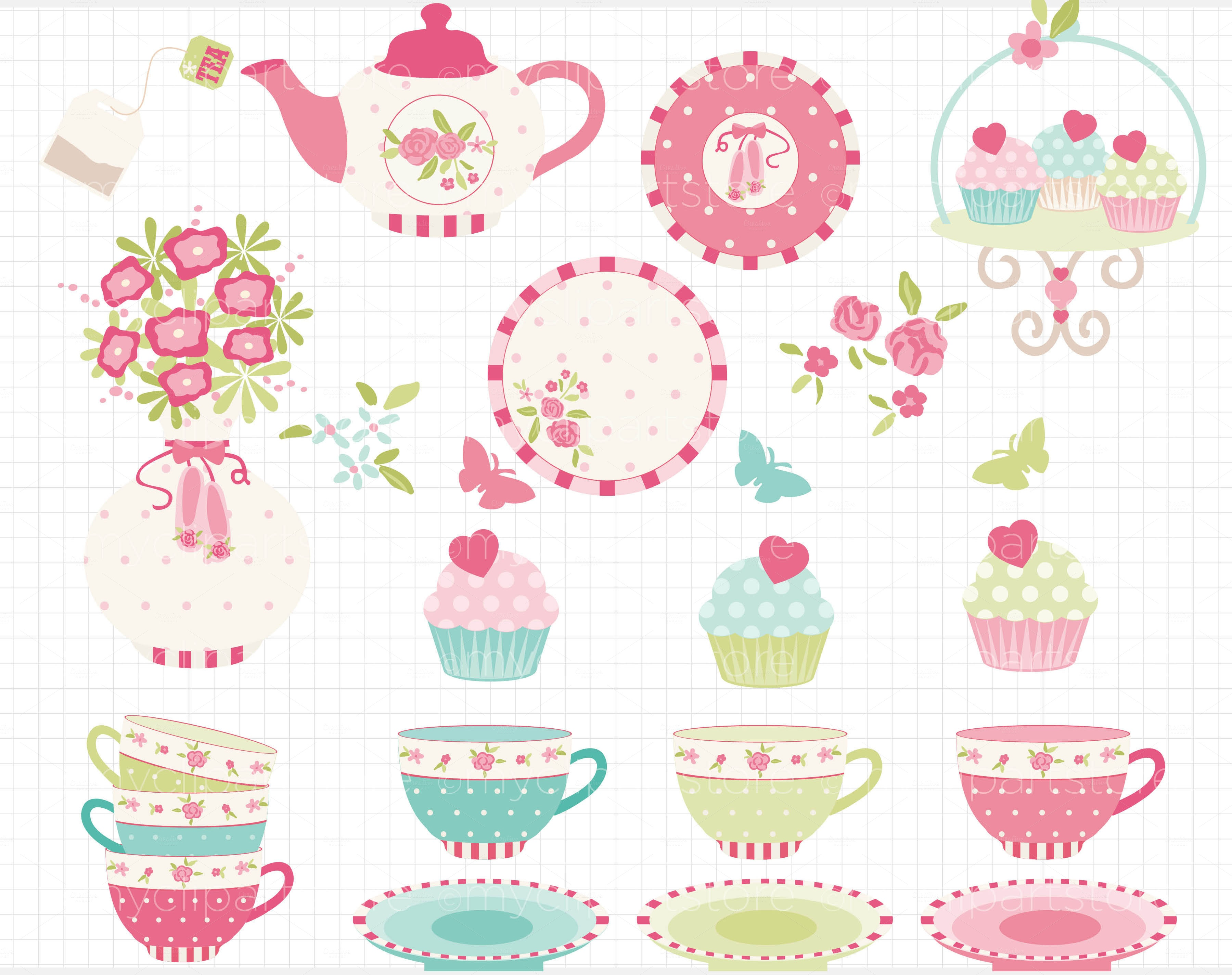 Free Tea Party Cliparts, Download Free Clip Art, Free Clip Art On - Free Vintage Tea Party Printables