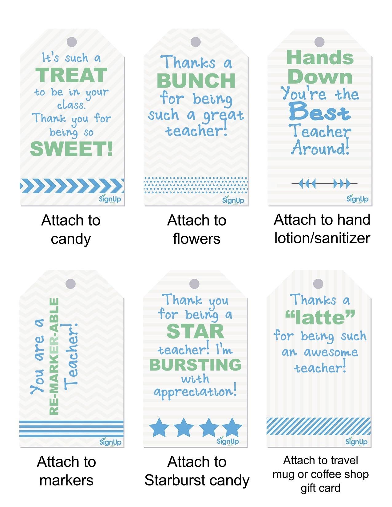 Free Teacher Appreciation Printables | Signup - Teacher Gift Tags Printable Free