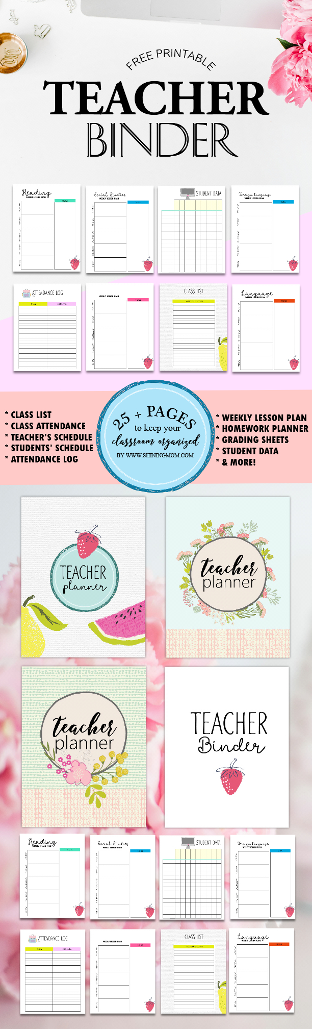 Free Teacher Binder Printables: Over 25 Pretty Planning Templates! - Free Printable Teacher Binder Covers
