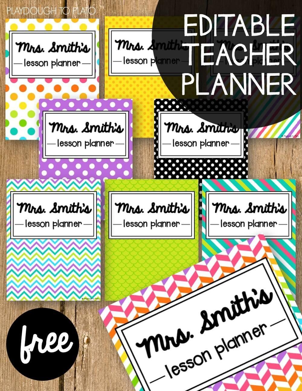 Free Teacher Planner - Playdough To Plato - Free Printable Teacher Binder Covers