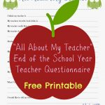 Free Teacher Printable Questionnaire For End Of School Year   Free Printables For Teachers