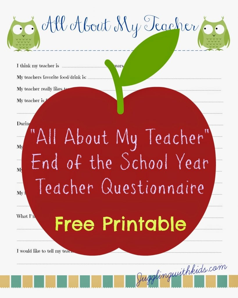 Free Teacher Printable Questionnaire For End Of School Year - Free Printables For Teachers