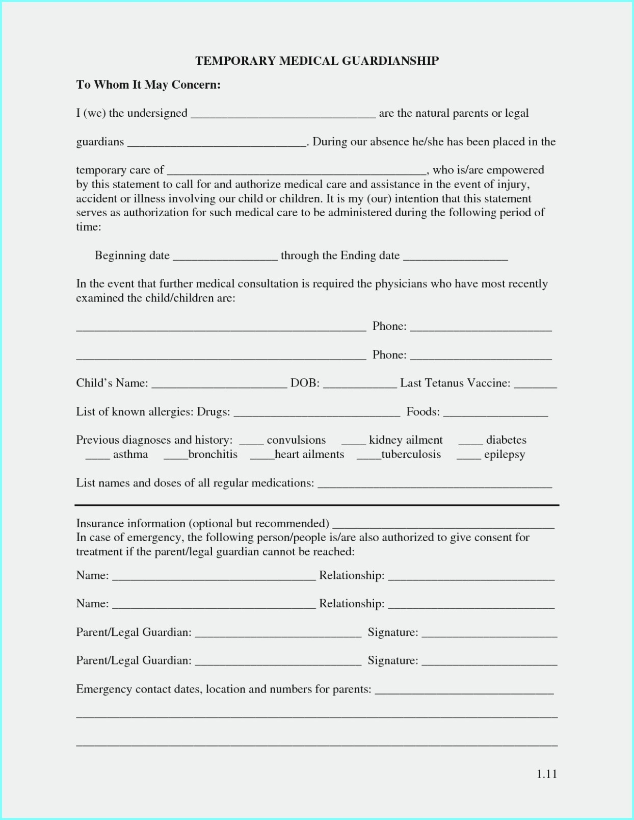 Free Temporary Guardianship Form Idaho - Form : Resume Examples - Free Printable Temporary Guardianship Form