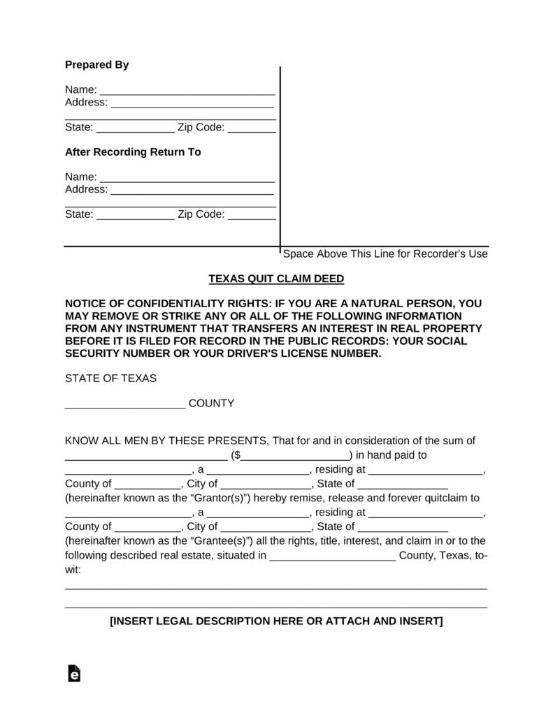Free Texas Quit Claim Deed Form - Pdf | Word | Eforms – Free - Free Printable Quit Claim Deed Form