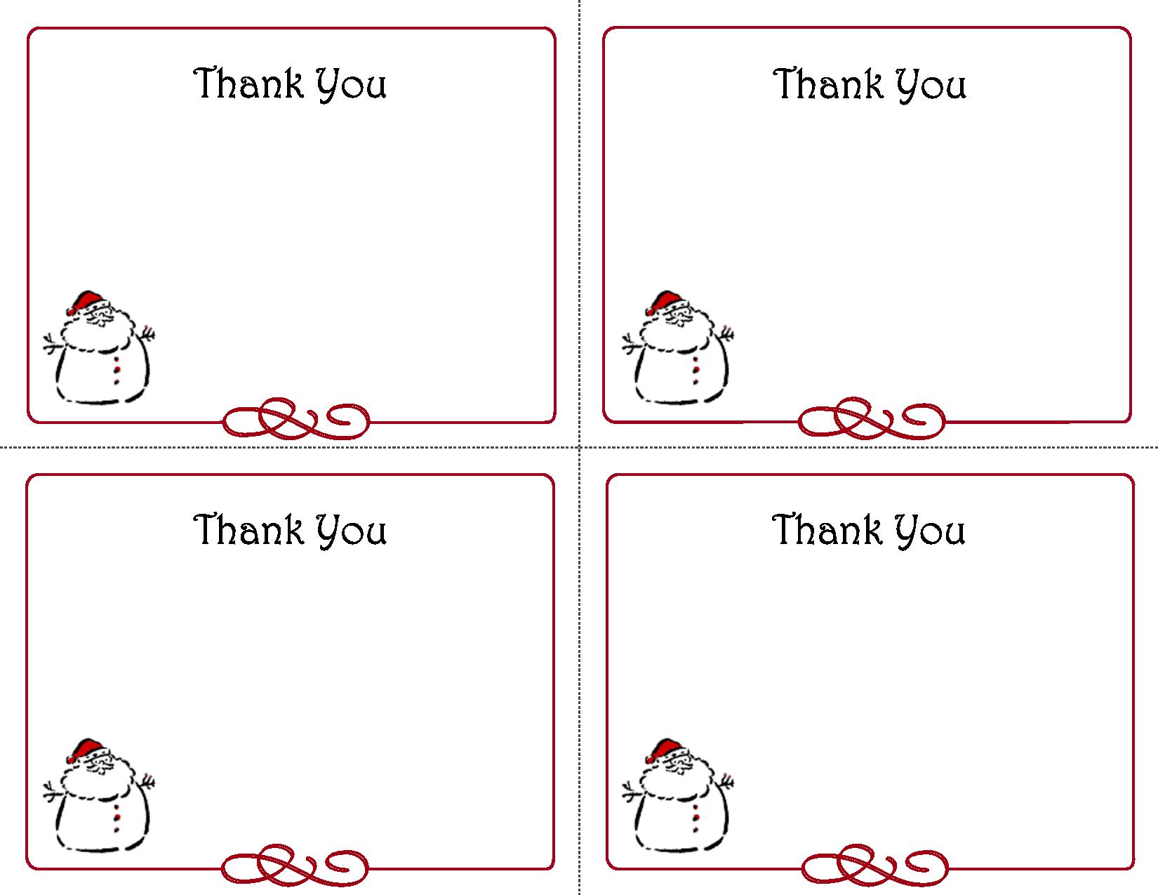 Free Thank You Cards Printable   Free Printable Holiday Gift Tags - Free Printable Christmas Thank You Cards