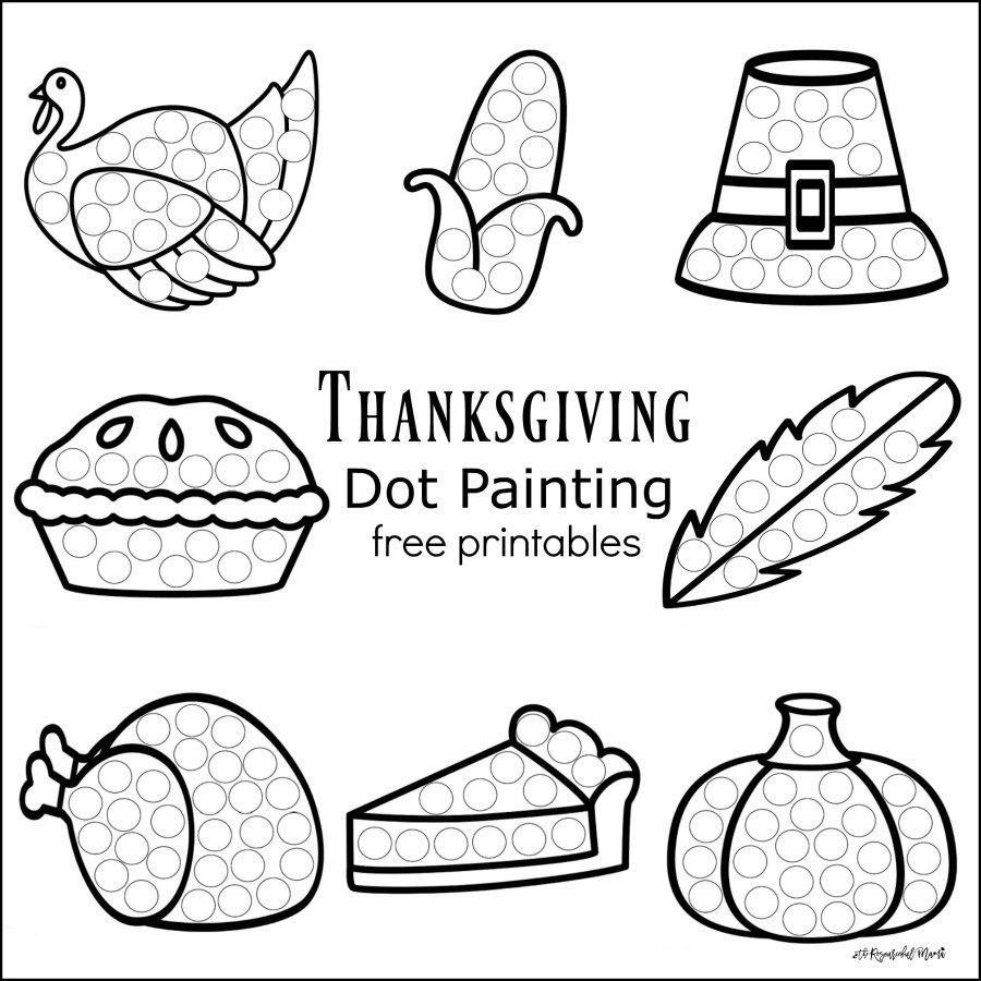 Free Thanksgiving Dot Painting Printables - Homeschool Giveaways - Free Dot Painting Printables