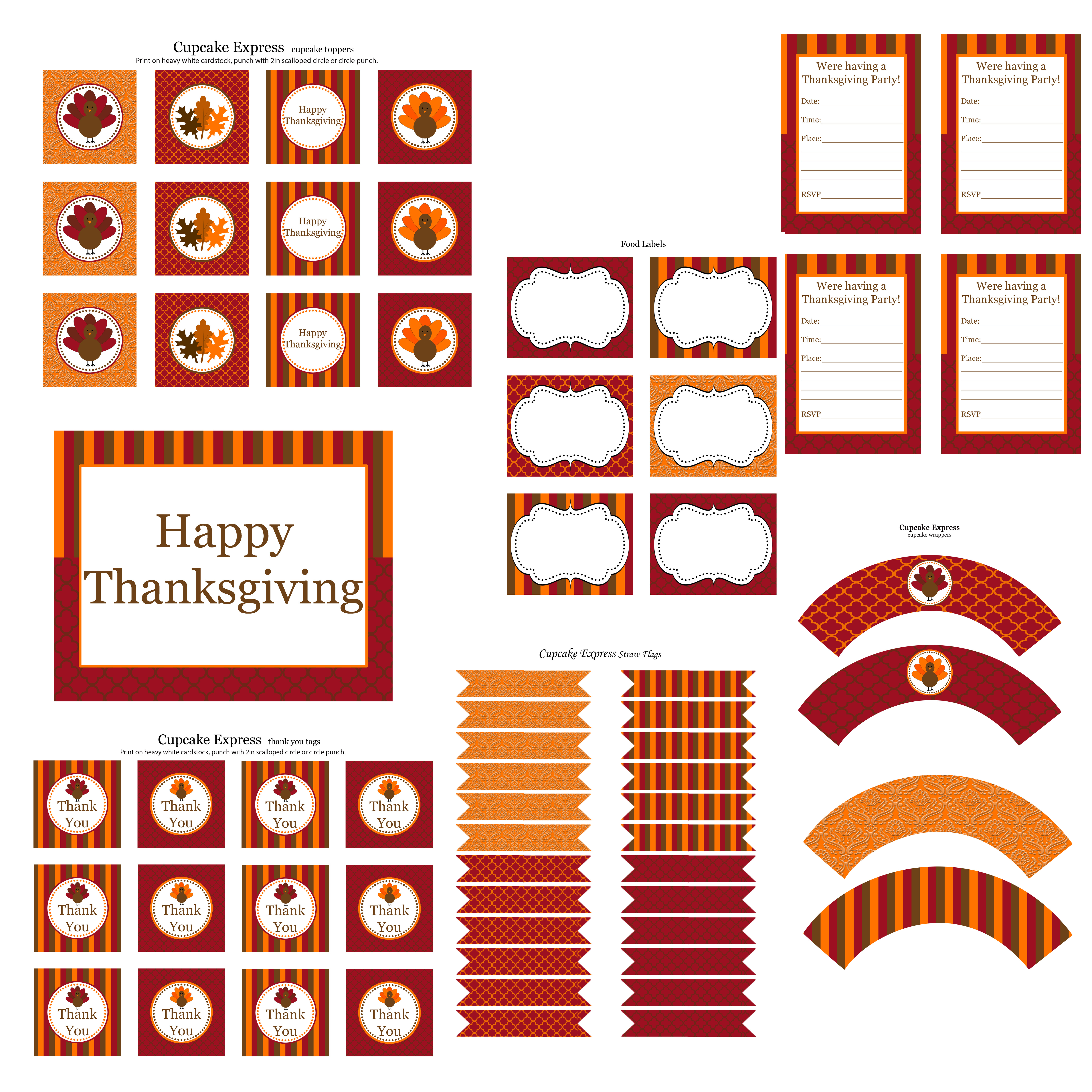 Free Thanksgiving Party Printables From Cupcake Express | Catch My Party - Cupcake Flags Printable Free