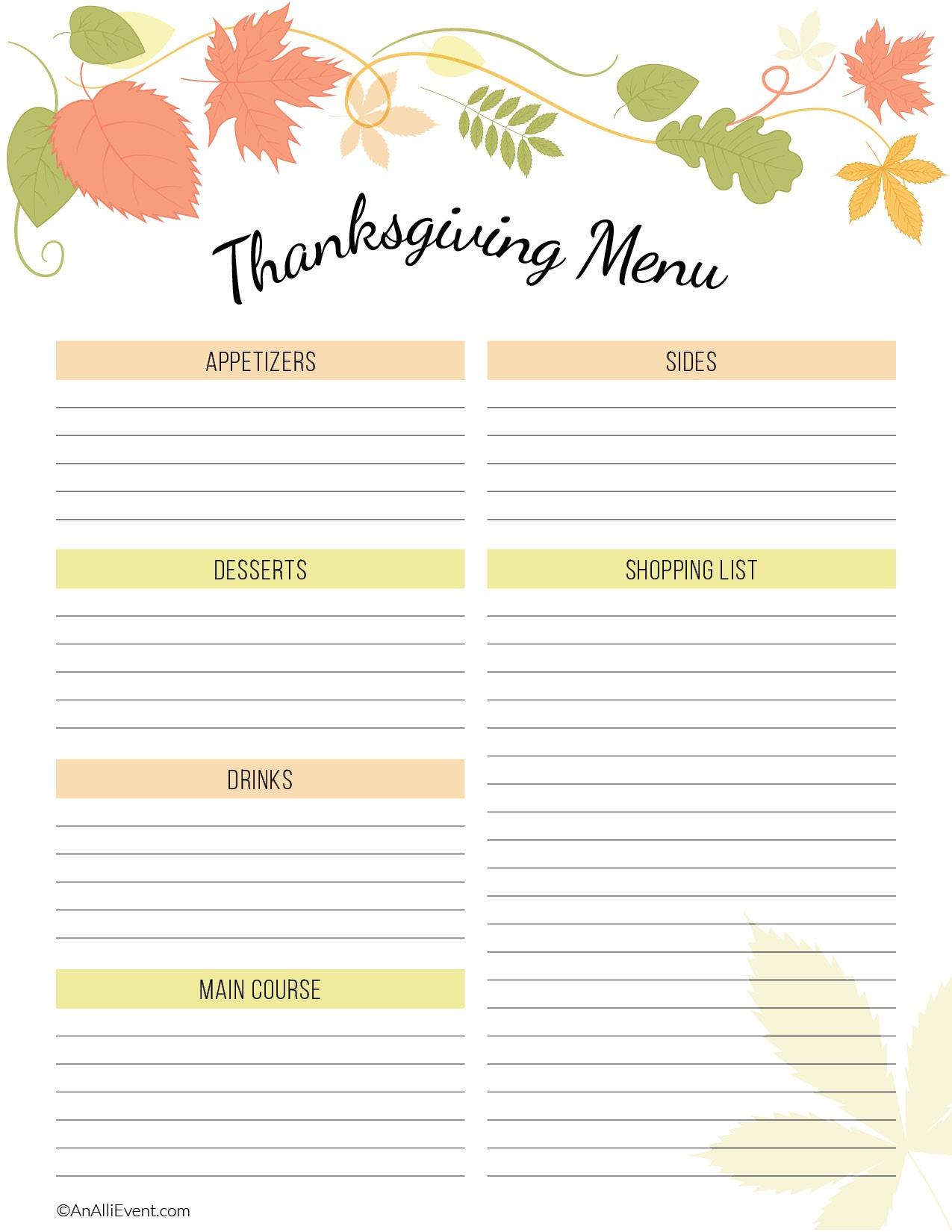 Free Thanksgiving Planner Printable - An Alli Event - Free Printable Thanksgiving Menu Template