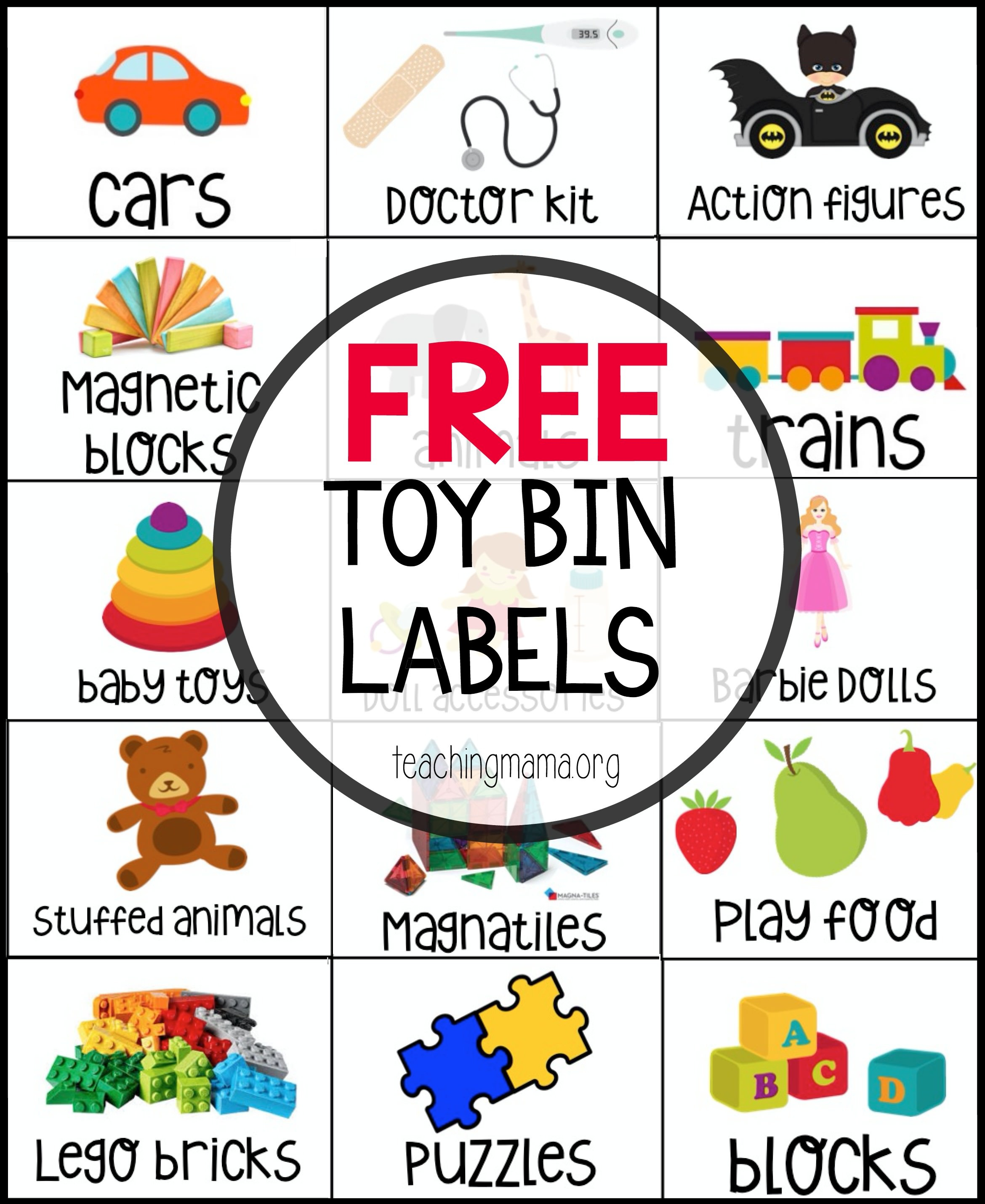 Free Toy Bin Labels - Free Printable Classroom Labels With Pictures