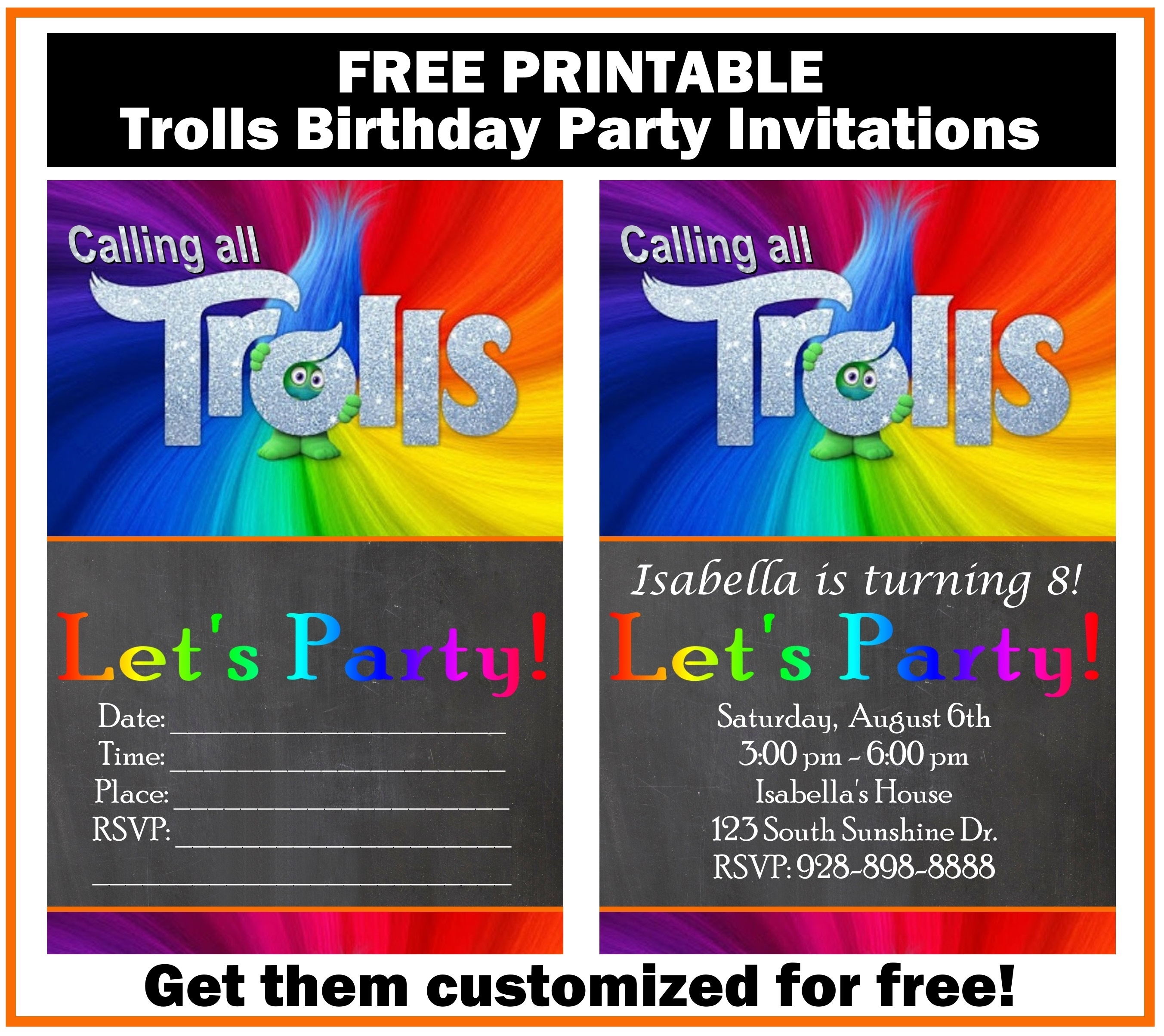 Free Trolls Birthday Party Invitation Printables - Printables 4 Mom - Free Printable Labor Day Invitations