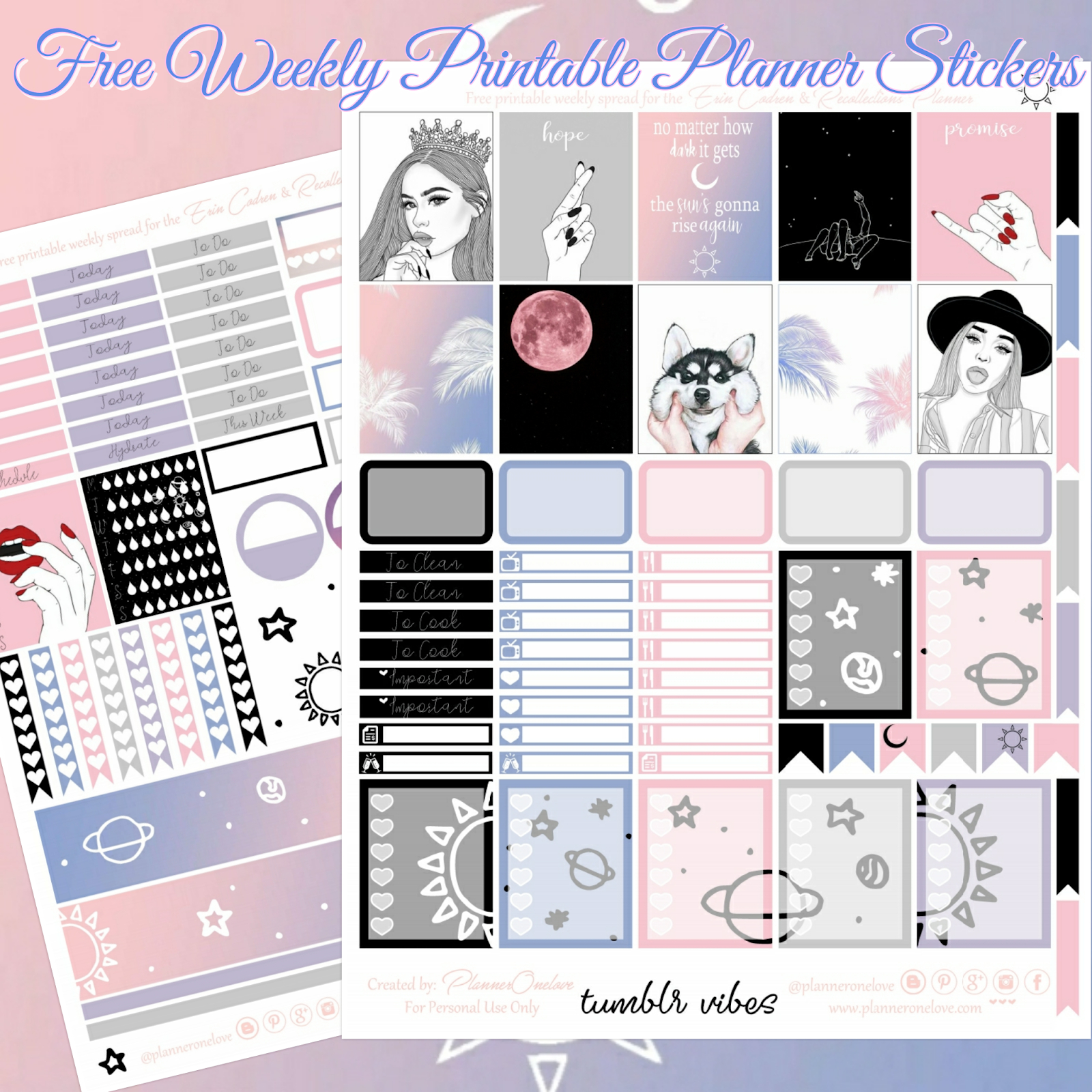 Free Tumblr Vibes Printable Planner Stickers For The Erin Condren - Free Printable Tumblr Stickers