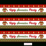 Free Ugly Sweater Party Printables | Catch My Party   Christmas Water Bottle Labels Free Printable