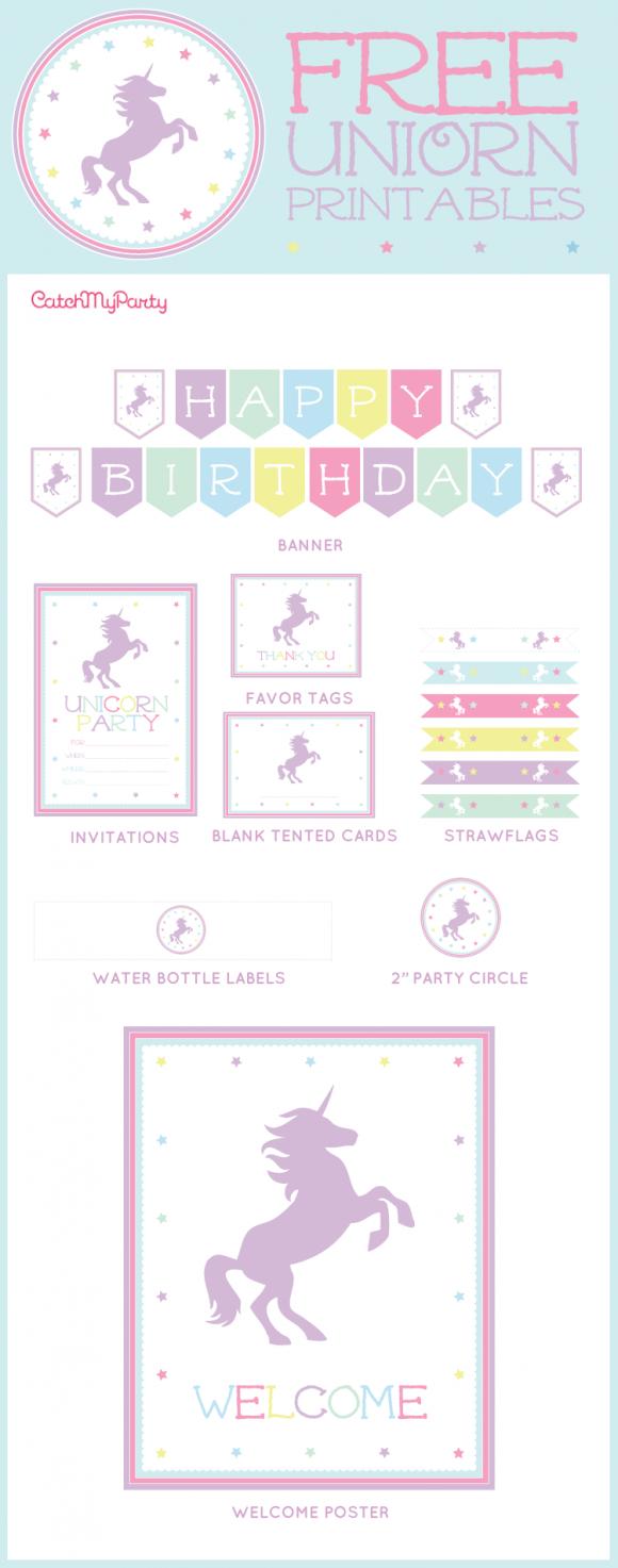 Free Unicorn Party Printables | Catchmyparty | Unicorn - Free Unicorn Birthday Printables
