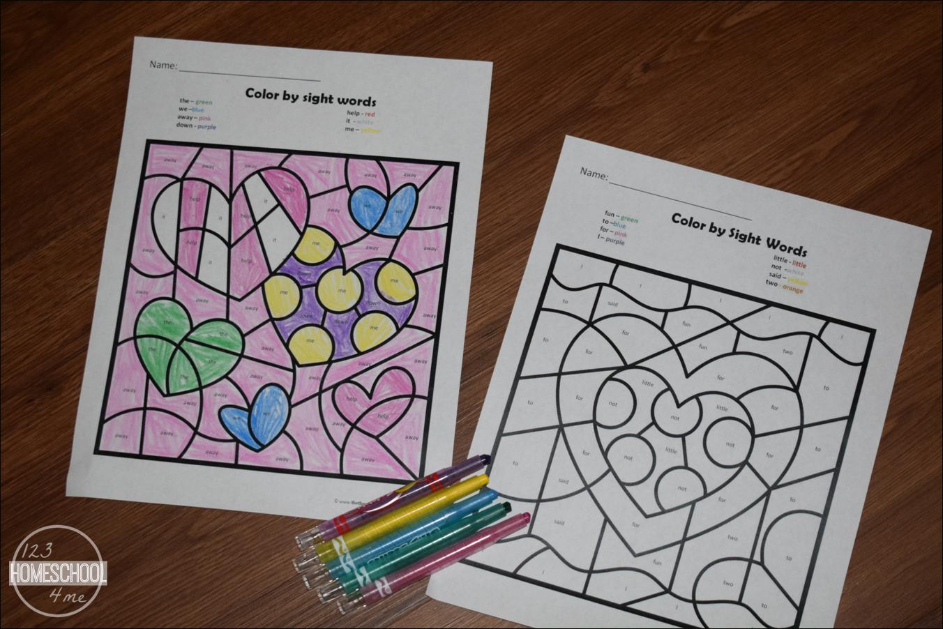 Free Valentines Day Colorsight Words   123 Homeschool 4 Me - Free Printable Valentine Activities For Kindergarten