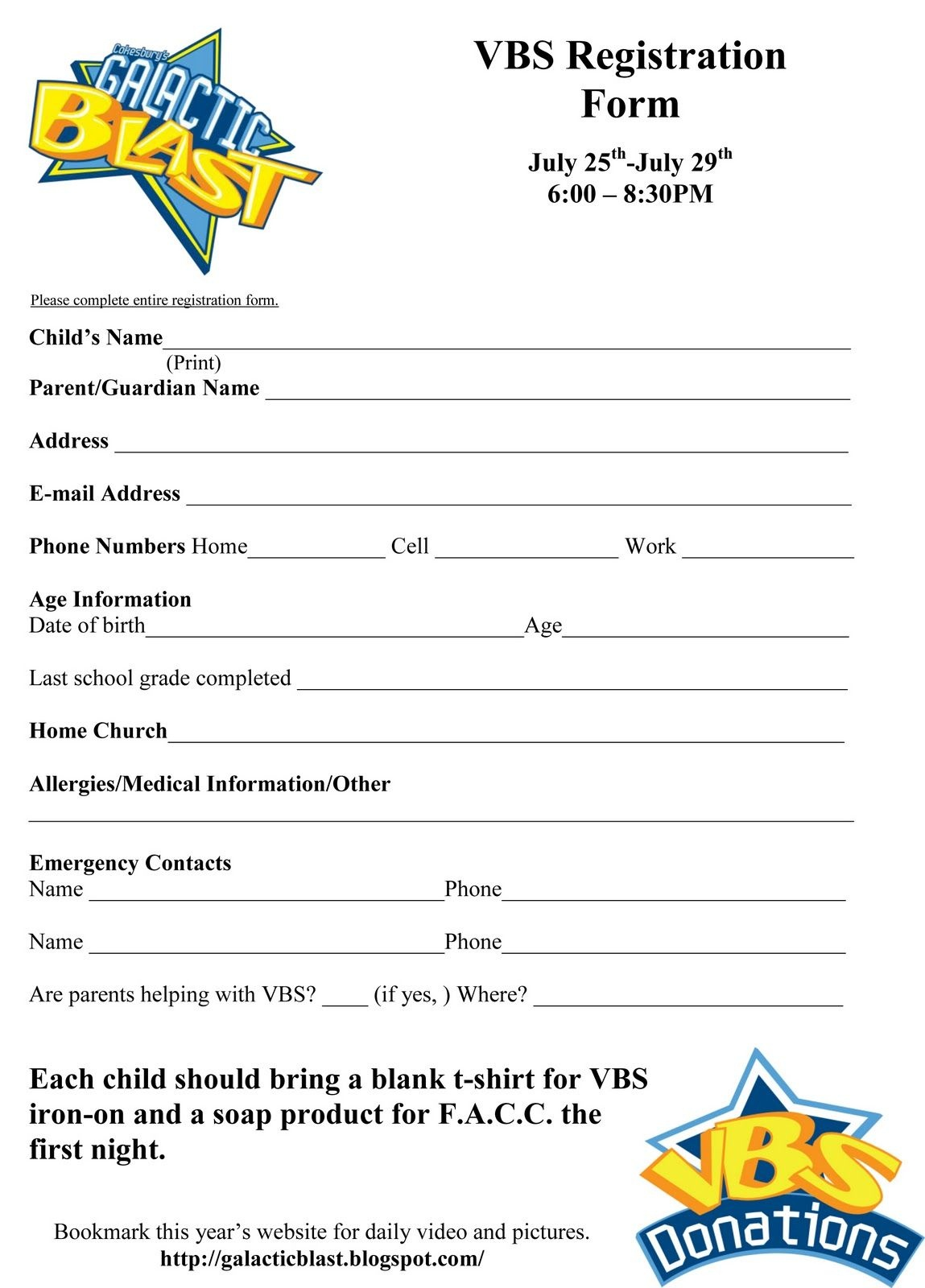 free printable vbs registration forms  free printable