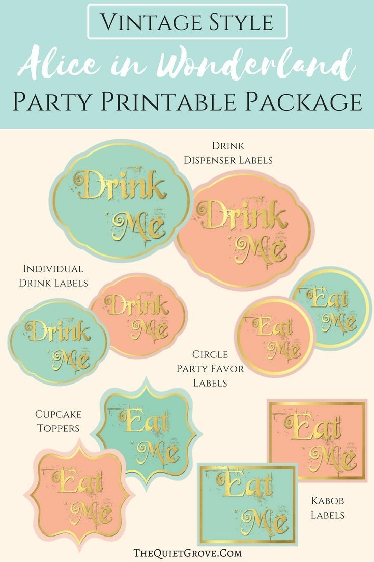 Free Vintage Alice In Wonderland Party Printables | Fabnfree - Alice In Wonderland Cupcake Toppers Free Printable