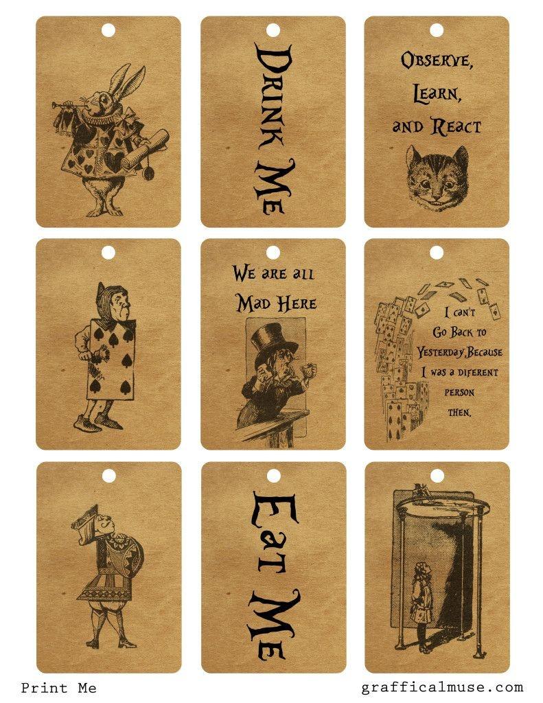 Free Vintage Alice In Wonderland Printable Tags | Maggies 5Th - Free Printable Alice In Wonderland Eat Me Tags
