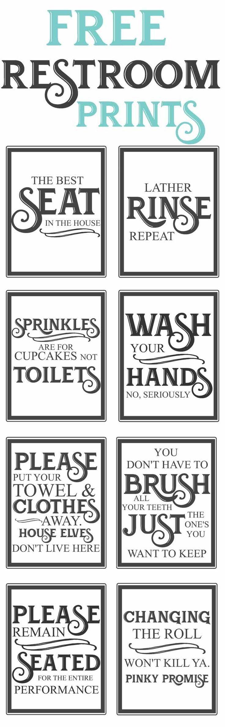 Free Vintage Bathroom Printables   Farmhouse   Diy Home Decor, Home - Free Printable Funny Signs